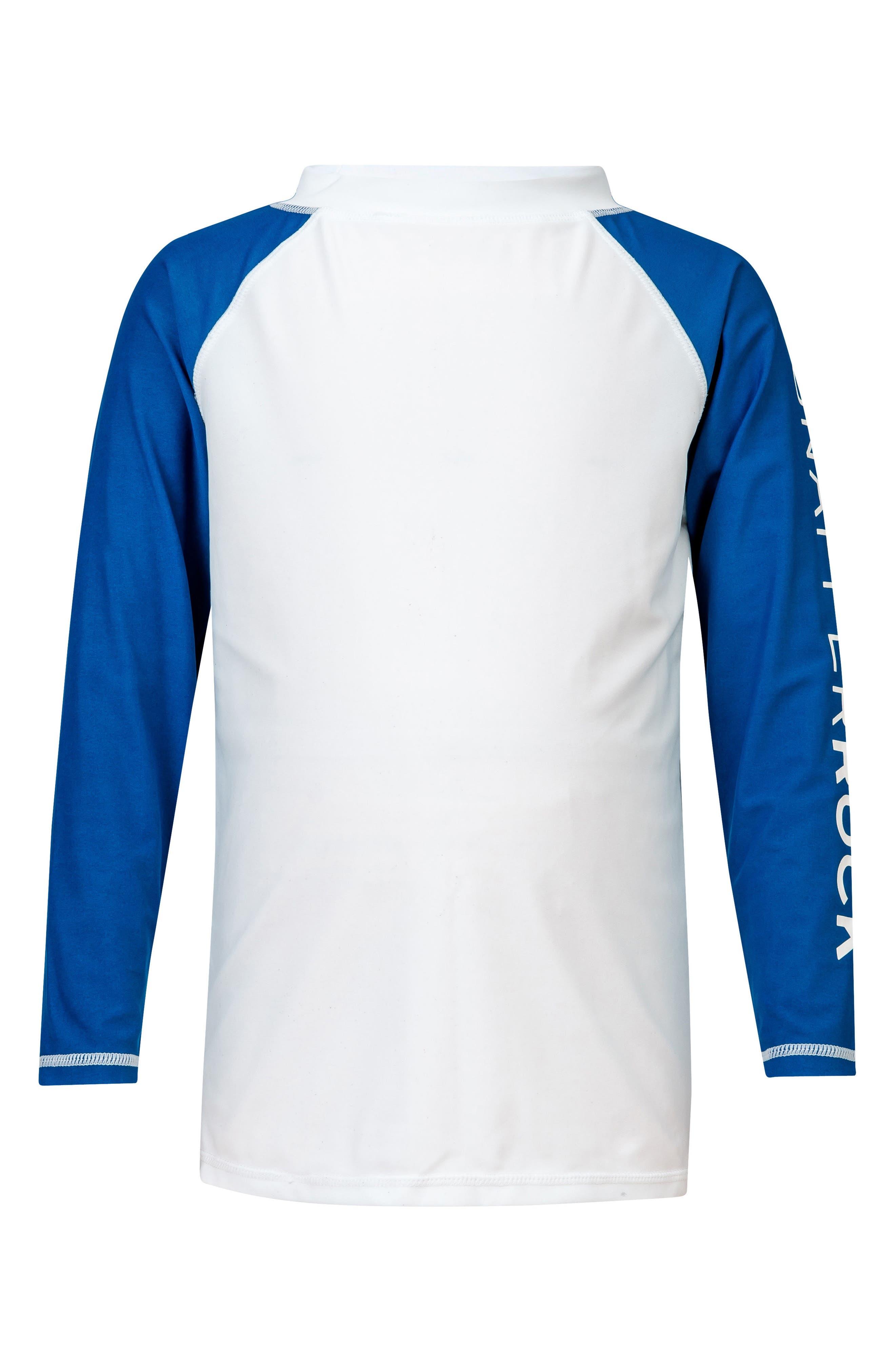 Contrast Long Sleeve Rashguard,                             Main thumbnail 1, color,                             White/ Blue