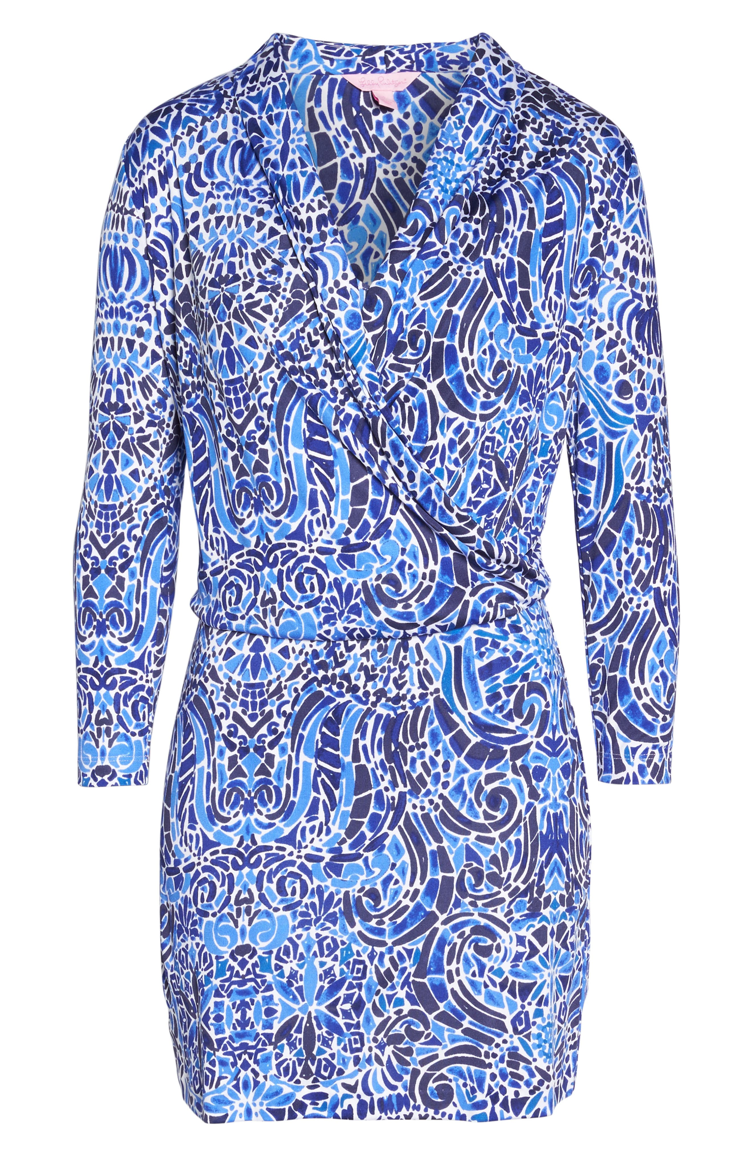 Felizia Silk Dress,                             Alternate thumbnail 6, color,                             Bright Navy Taverna Tile