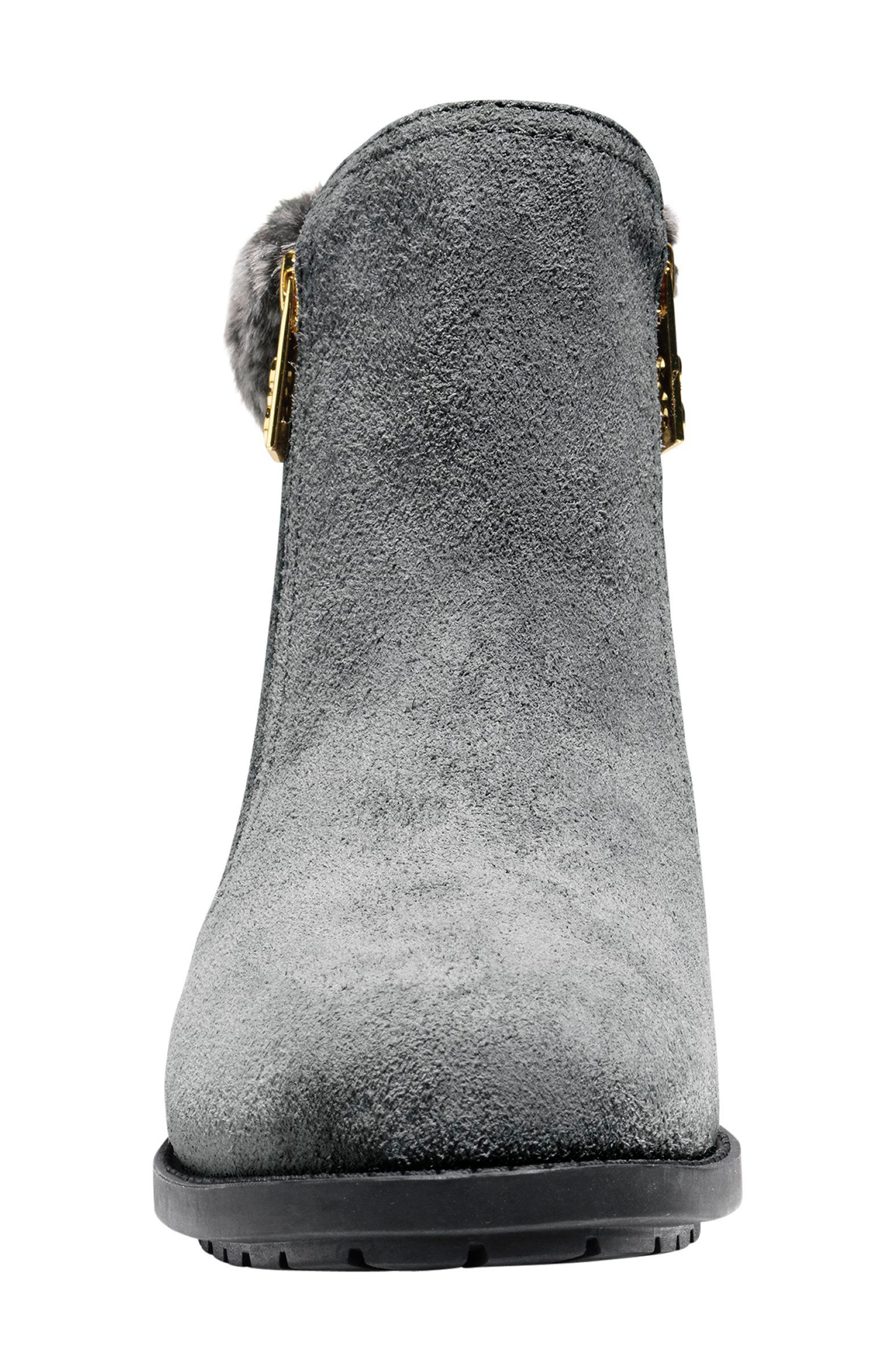 Quinney Waterproof Bootie with Faux Shearling Trim,                             Alternate thumbnail 4, color,                             Castlerock Waterproof Suede