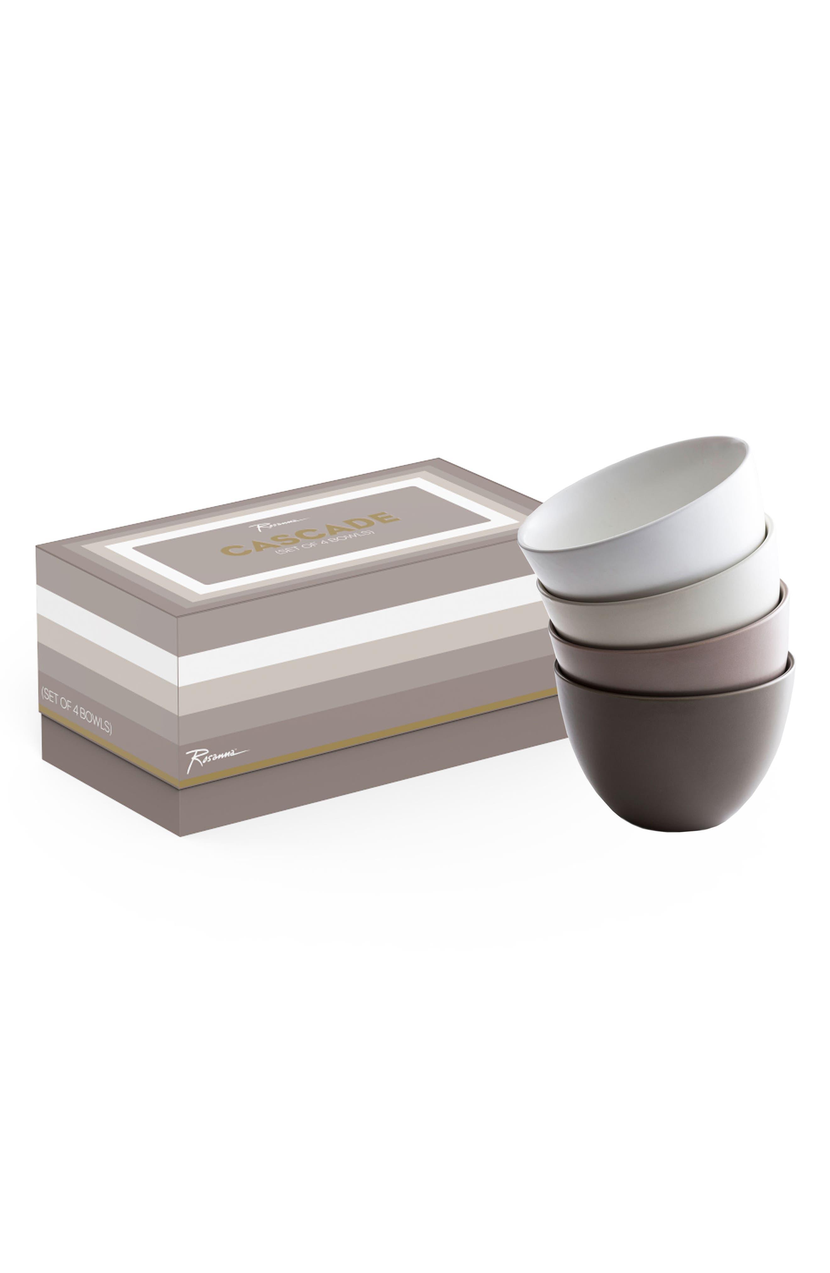 Cascade Set of 4 Porcelain Bowls,                         Main,                         color, Multi