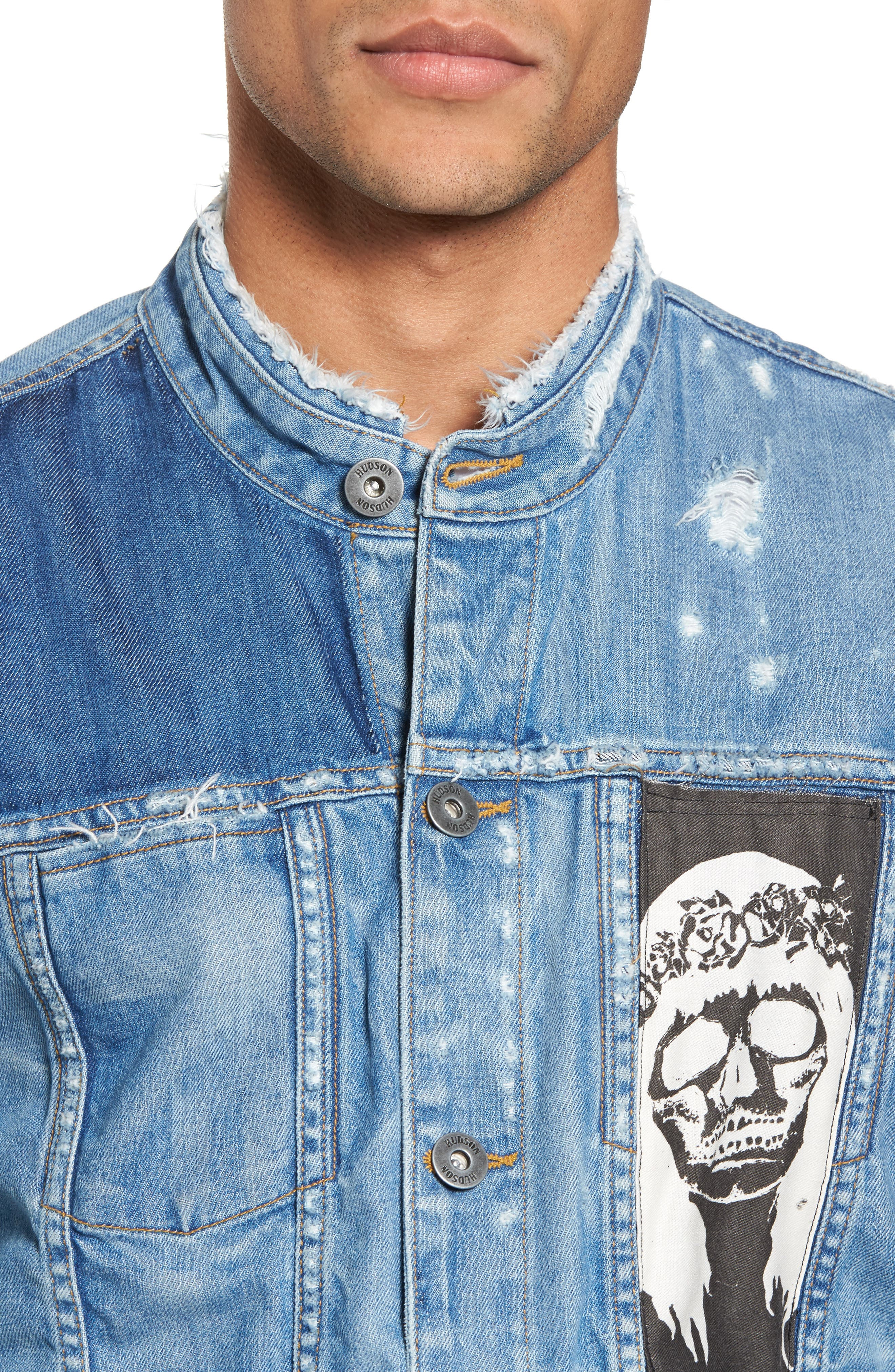 Blaine Crop Denim Jacket,                             Alternate thumbnail 4, color,                             Invert