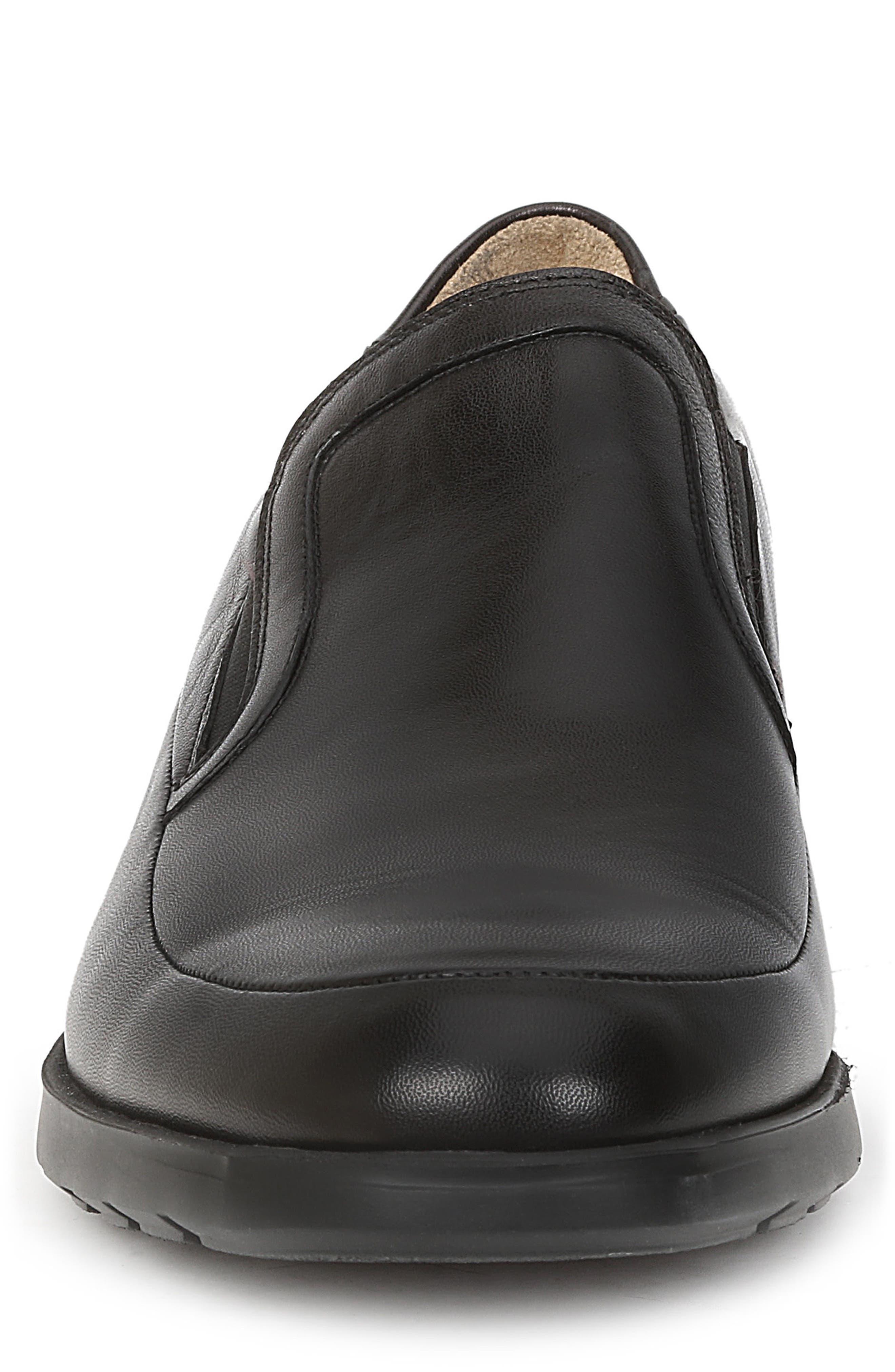 Vegas Apron Toe Loafer,                             Alternate thumbnail 4, color,                             Black Leather
