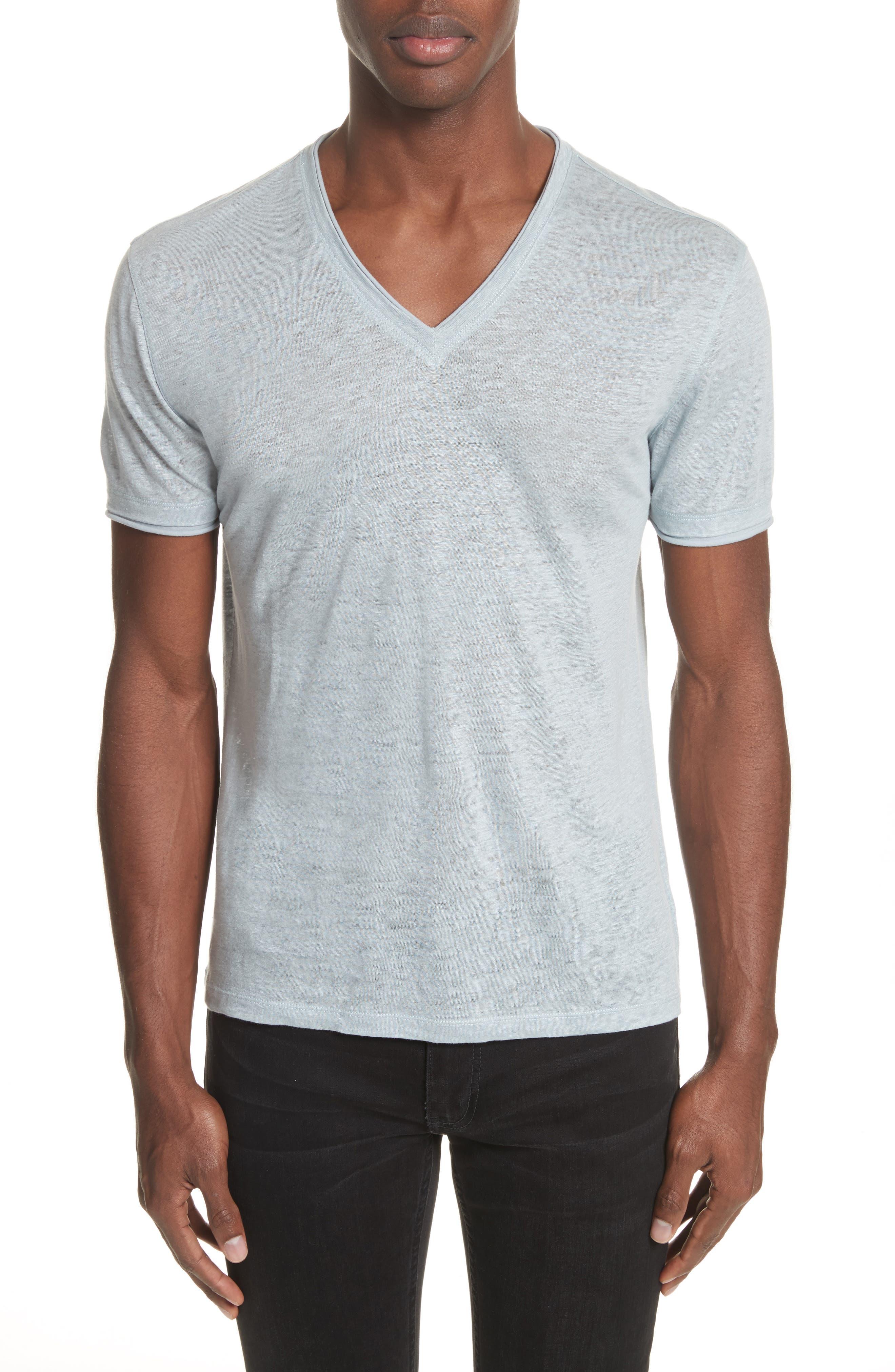 Linen V-Neck T-Shirt,                         Main,                         color, Powder Blue