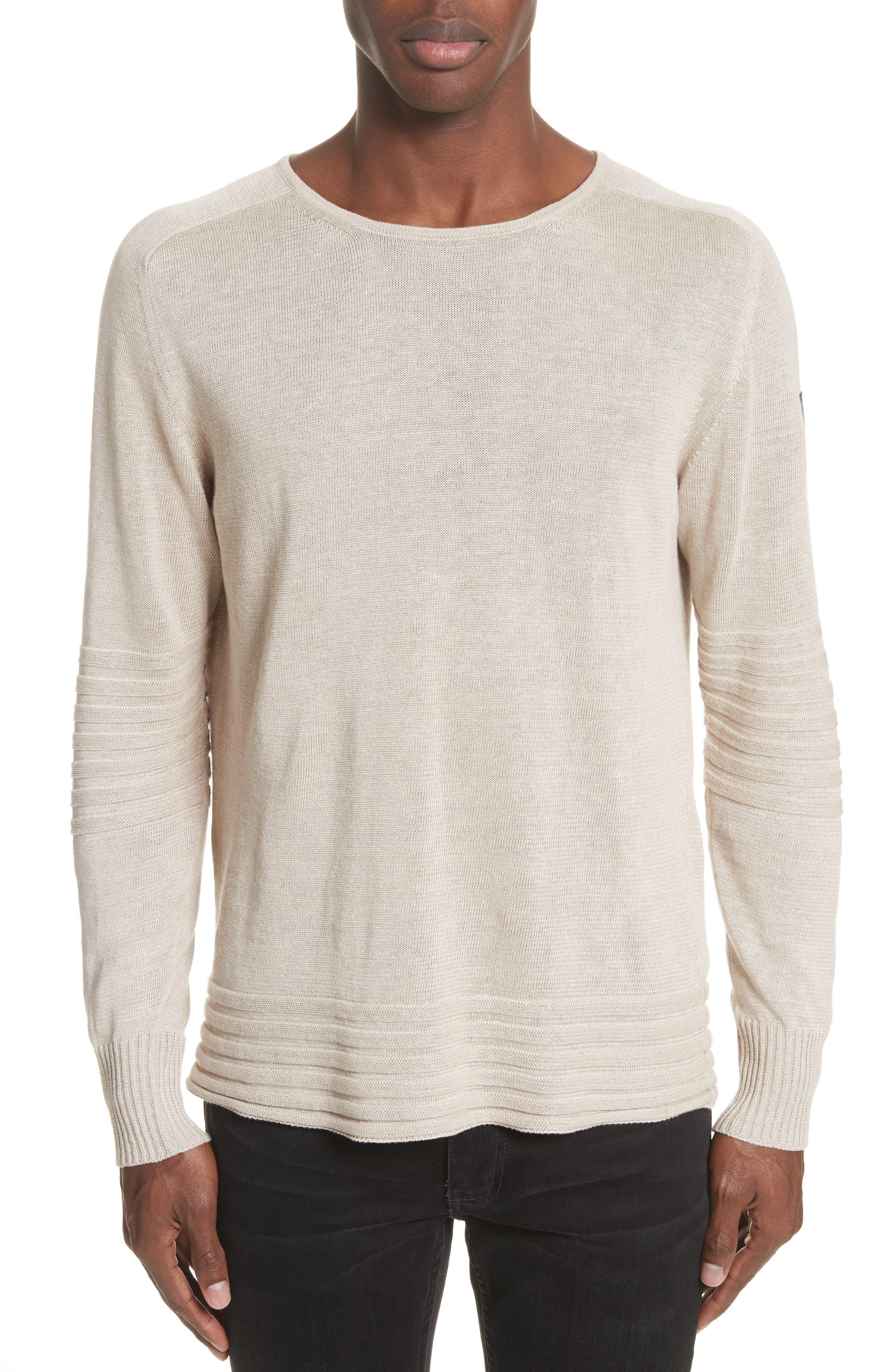 Exford Linen Crewneck Sweater,                             Main thumbnail 1, color,                             Light Sand