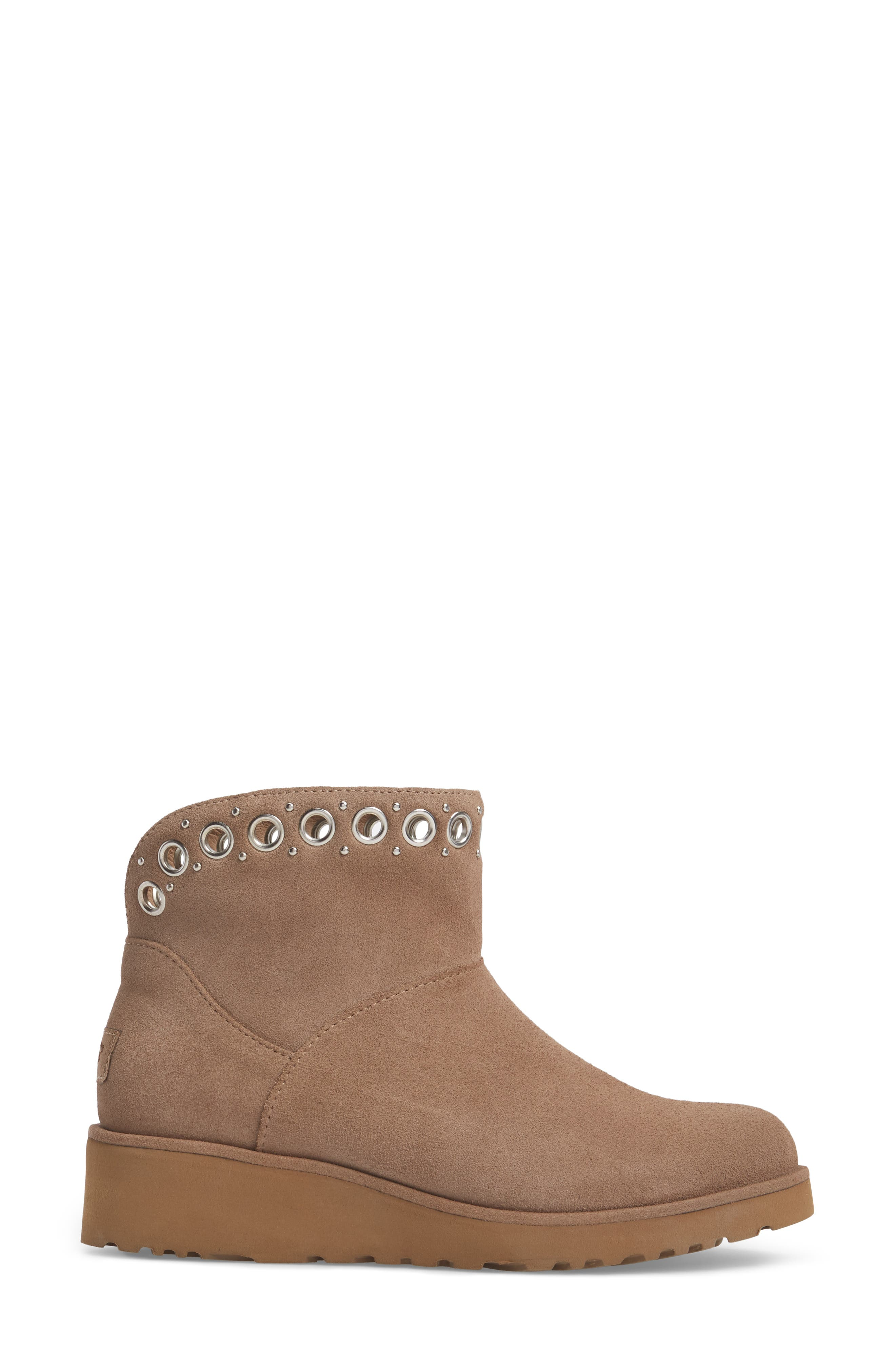 Riley Grommet Wedge Boot,                             Alternate thumbnail 3, color,                             Fawn Suede