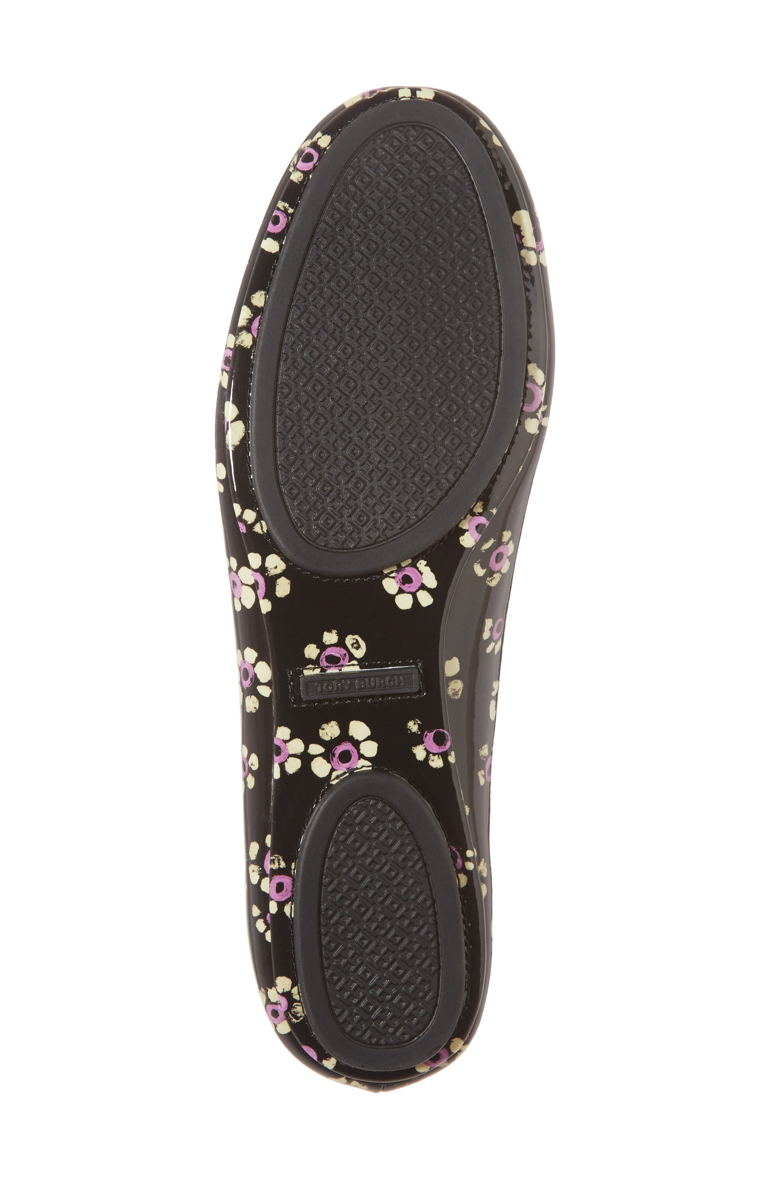 'Minnie' Travel Ballet Flat,                             Alternate thumbnail 3, color,                             Black Stamped Floral