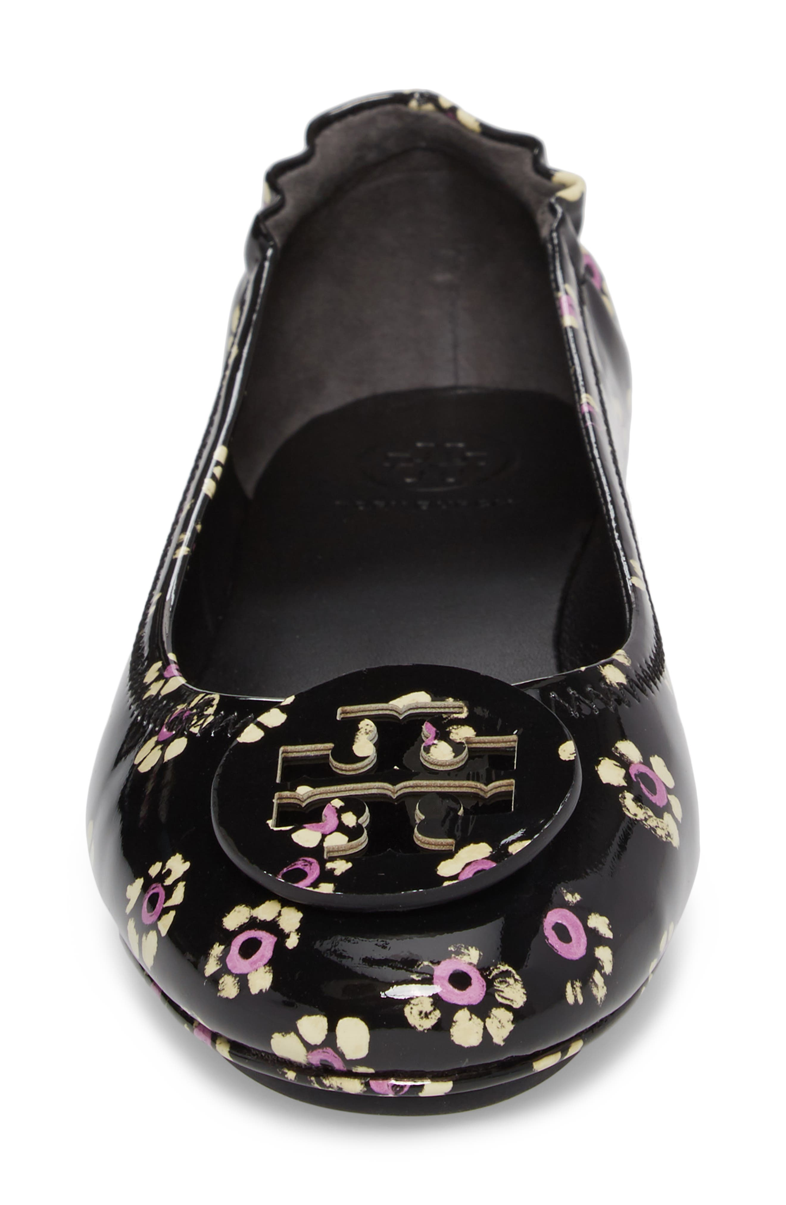 'Minnie' Travel Ballet Flat,                             Alternate thumbnail 4, color,                             Black Stamped Floral