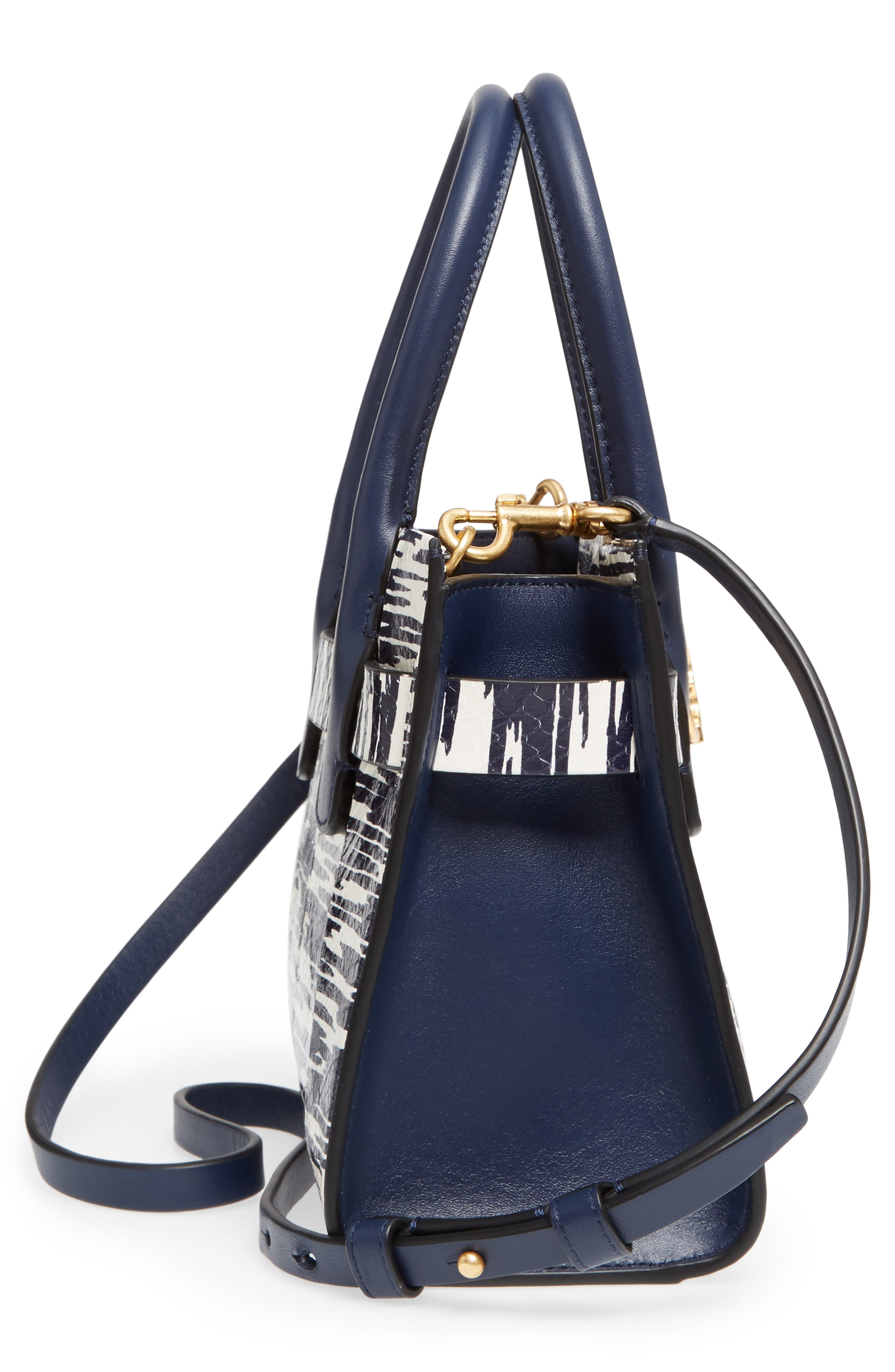 Small Gemini Link Space Dye Genuine Snakeskin Tote,                             Alternate thumbnail 5, color,                             Navy Space Dye