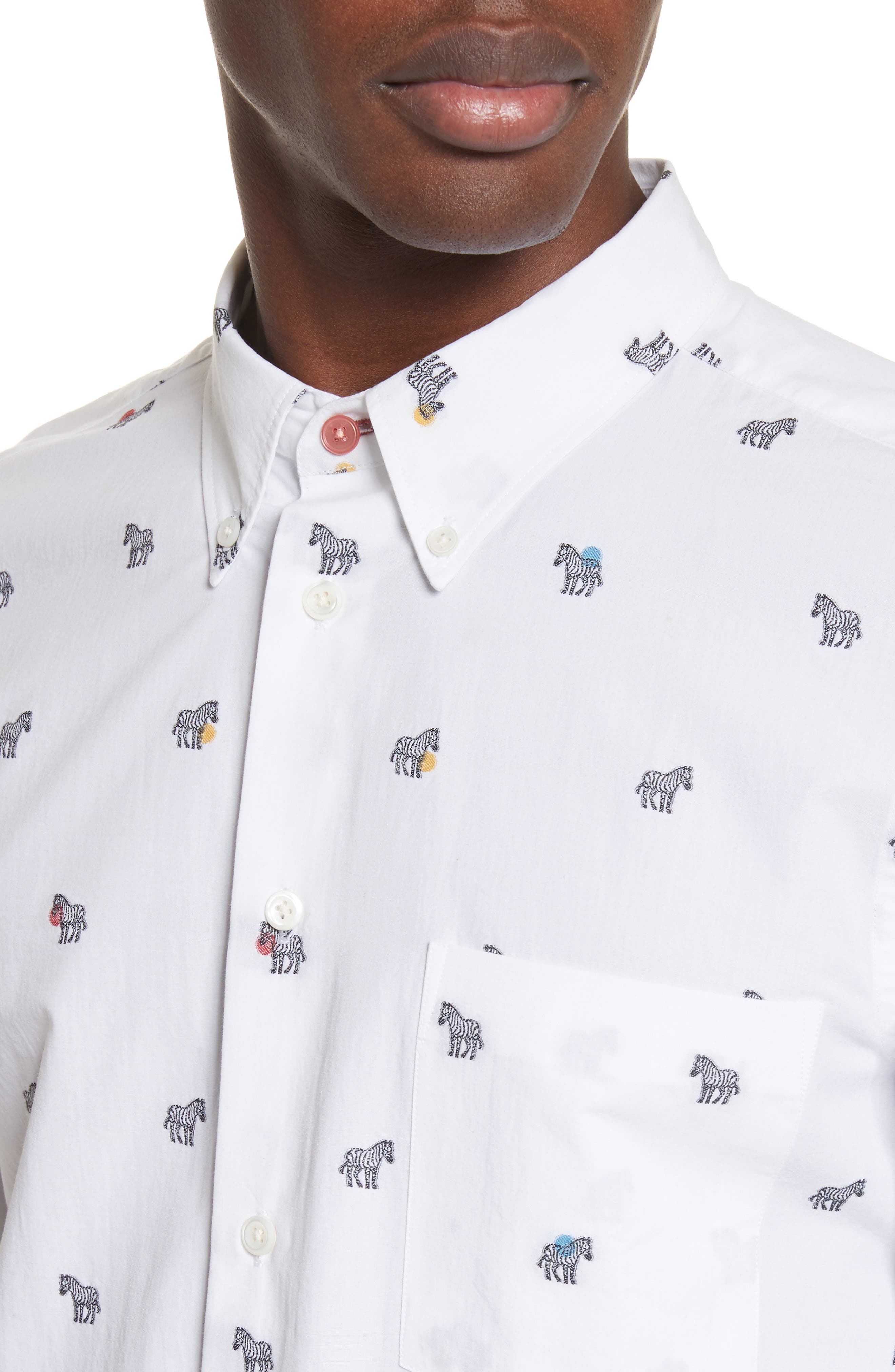 Allover Zebra Woven Shirt,                             Alternate thumbnail 2, color,                             White