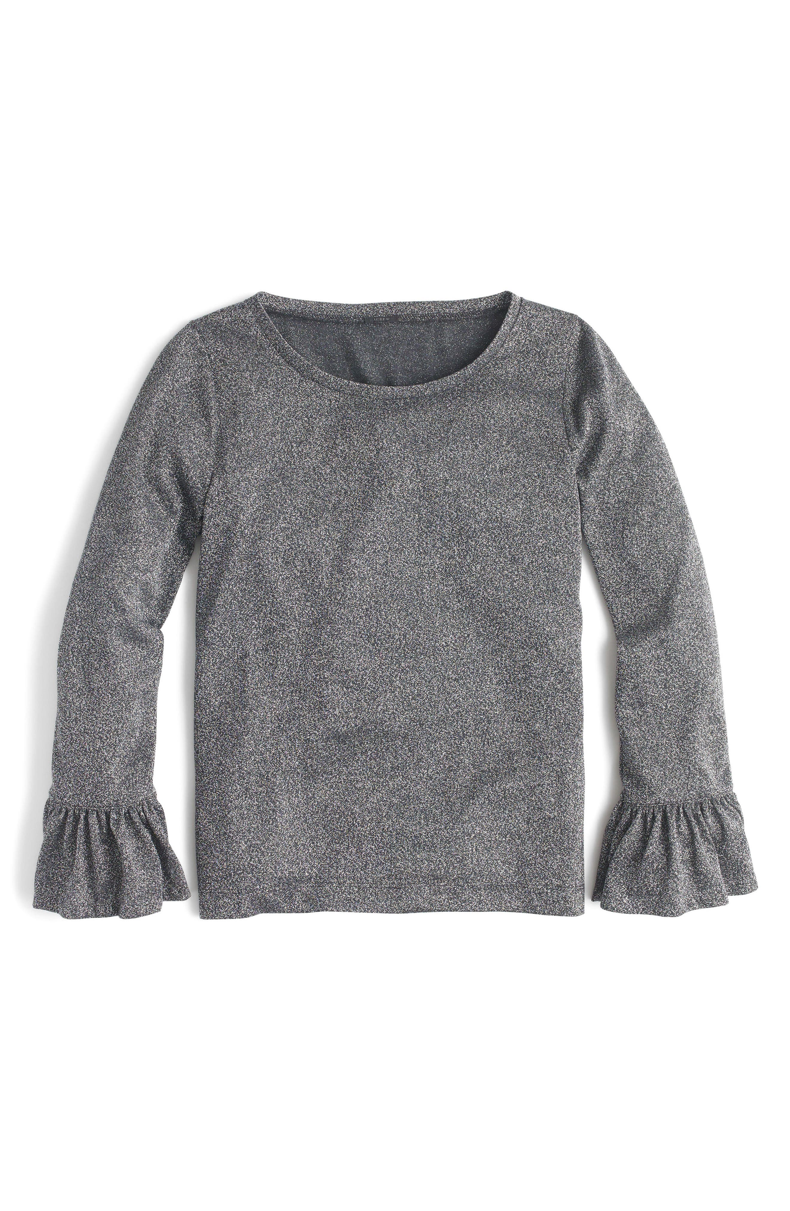 J.Crew Bell Sleeve Sparkle Top,                             Alternate thumbnail 4, color,                             Heather Charcoal