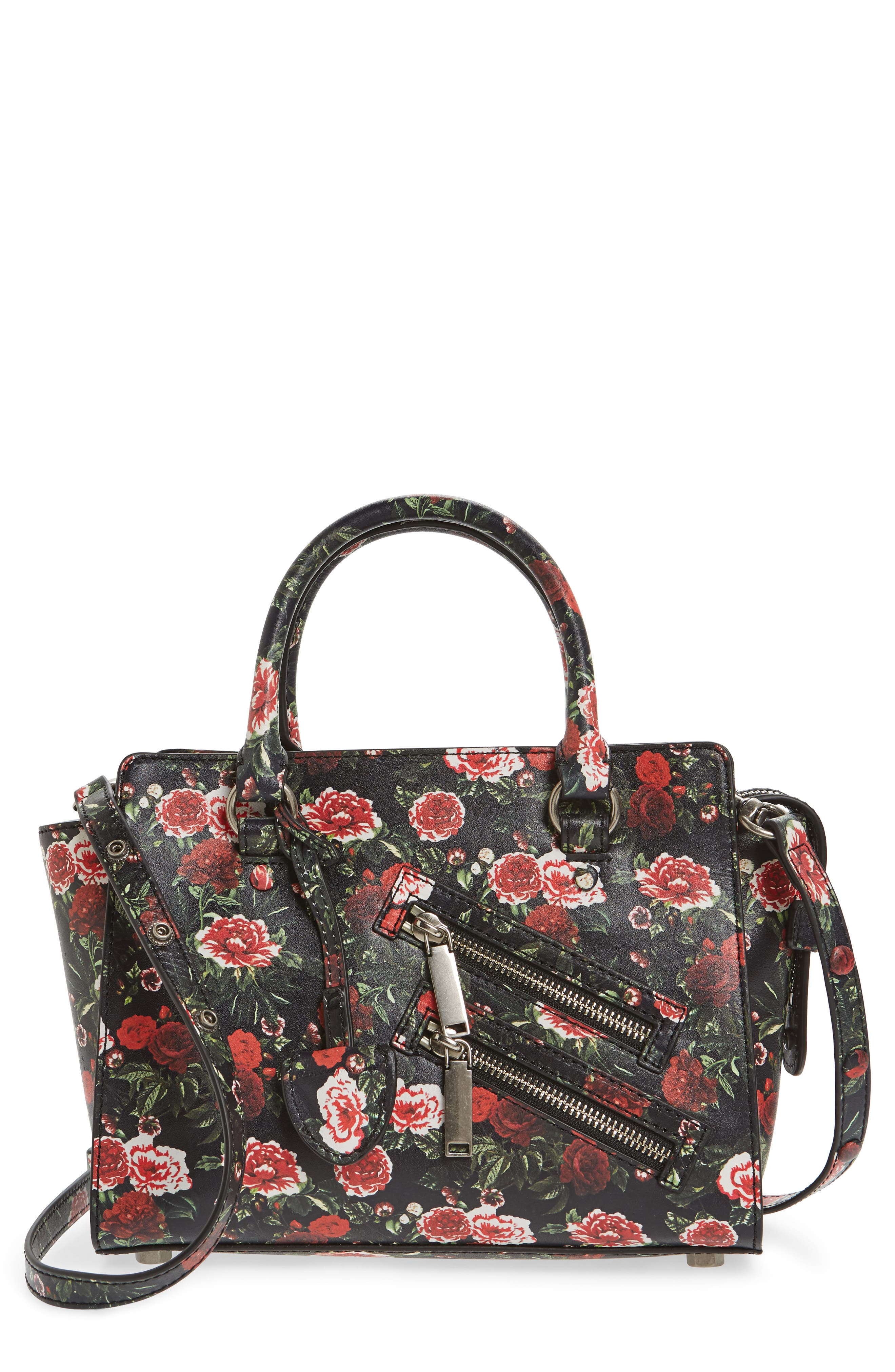 Small Jamie Leather Satchel,                             Main thumbnail 1, color,                             Rose Floral