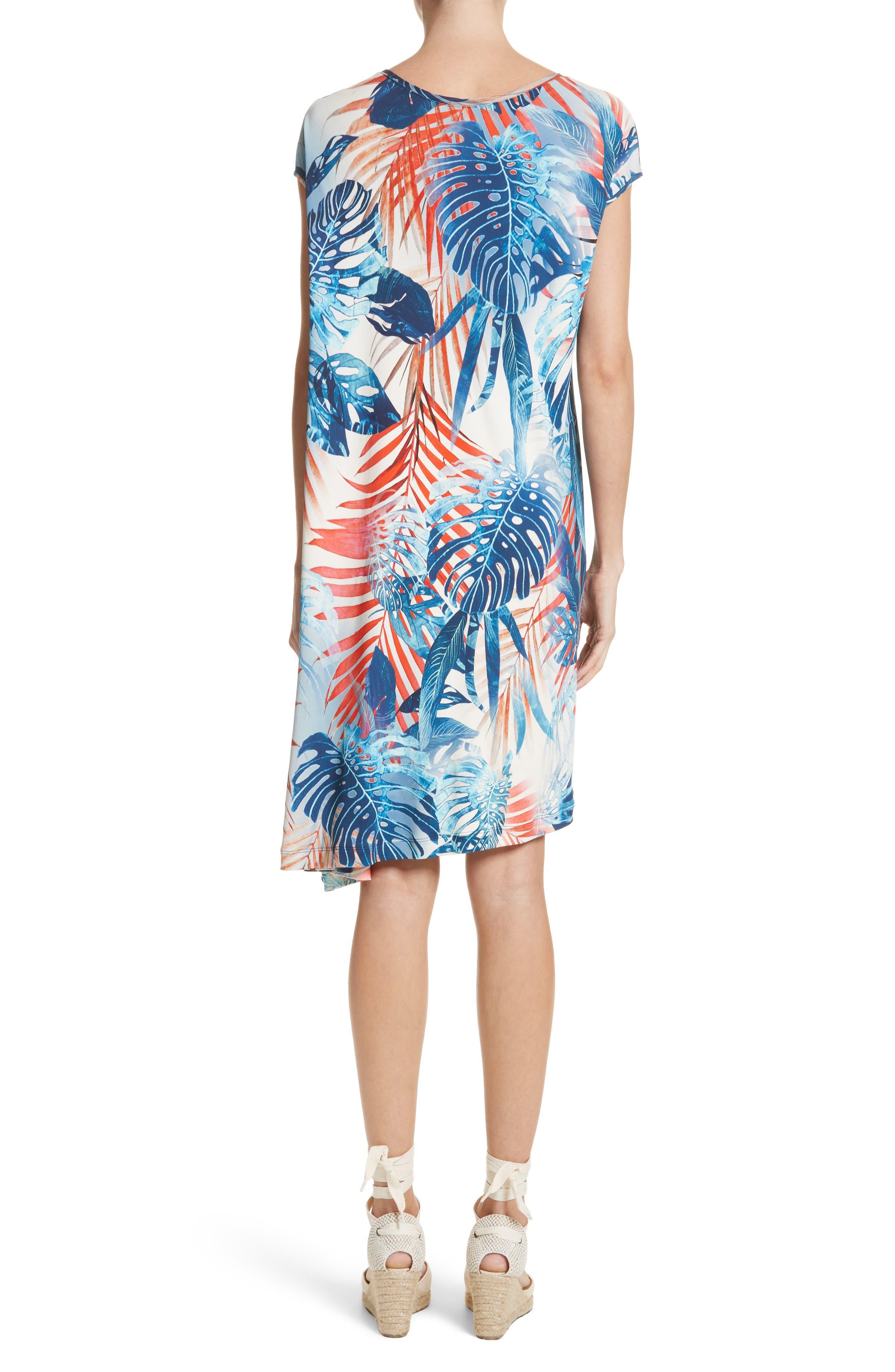 Foliage Print Asymmetrical Short Sleeve Shift Dress,                             Alternate thumbnail 2, color,                             Zaffiro