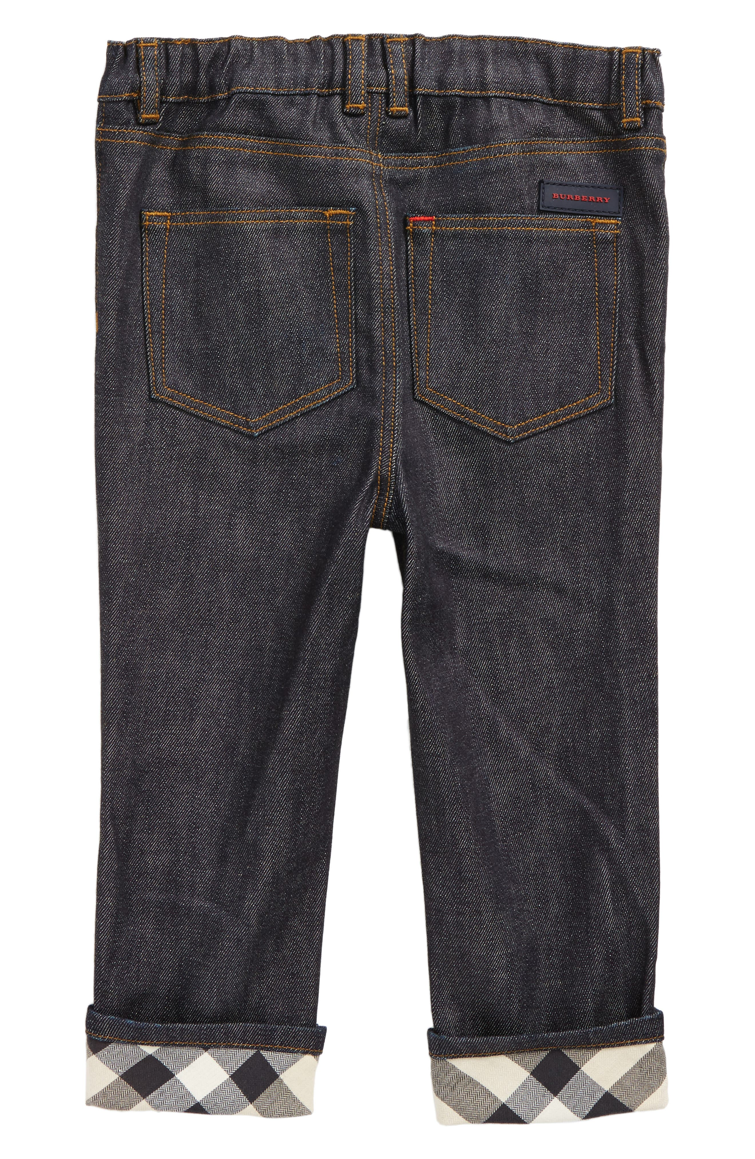 Alternate Image 2  - Burberry Check Cuff Relaxed Jeans (Toddler Boys)