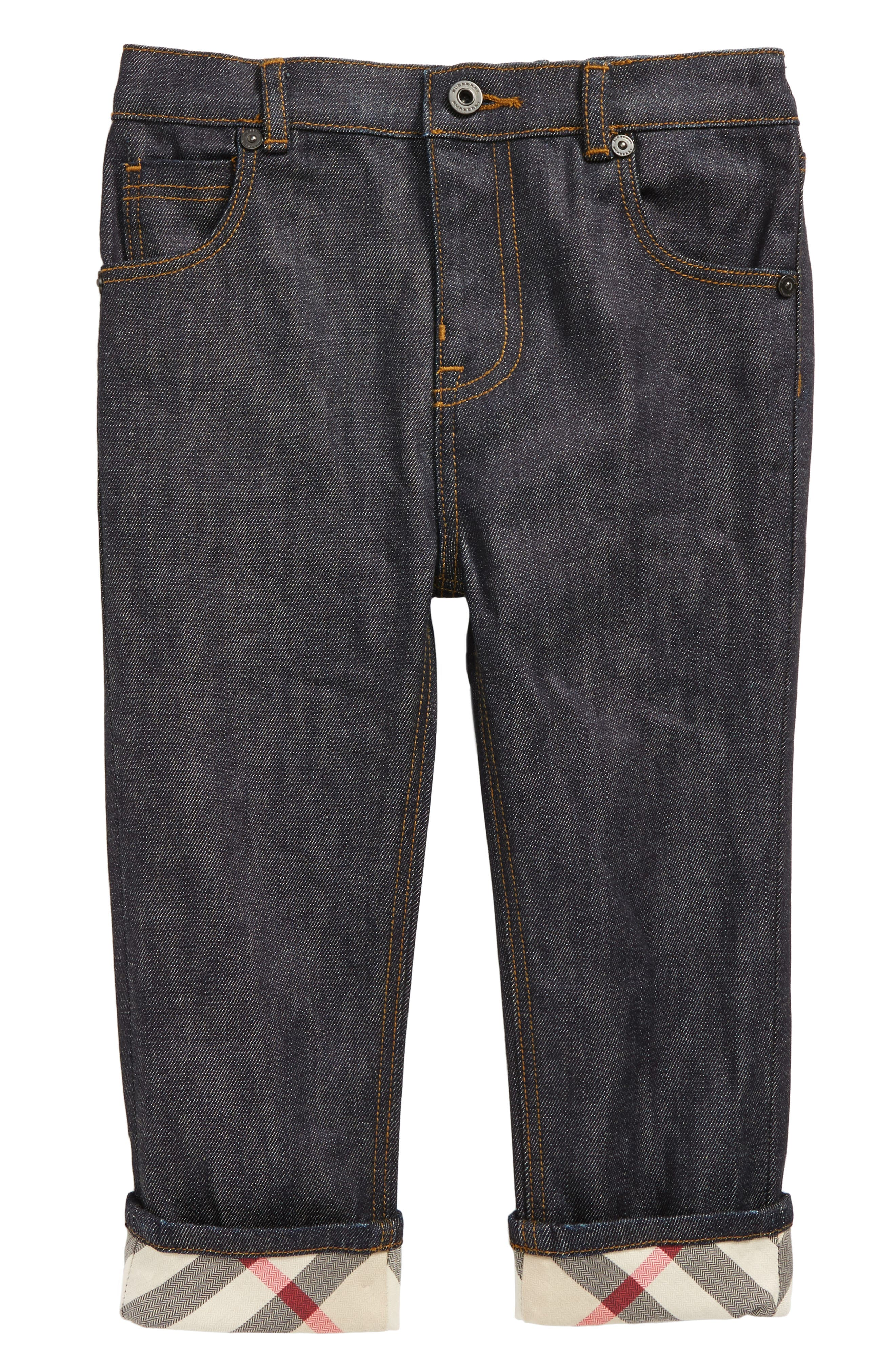 Alternate Image 1 Selected - Burberry Check Cuff Relaxed Jeans (Toddler Boys)