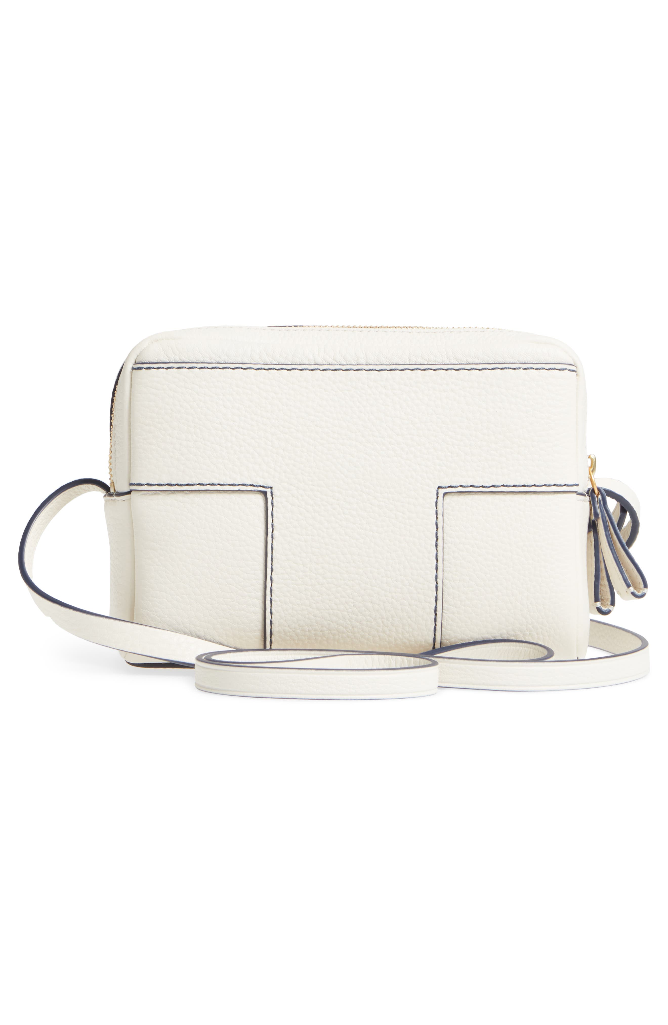 Block-T Double Zip Leather Crossbody Bag,                             Alternate thumbnail 3, color,                             New Ivory