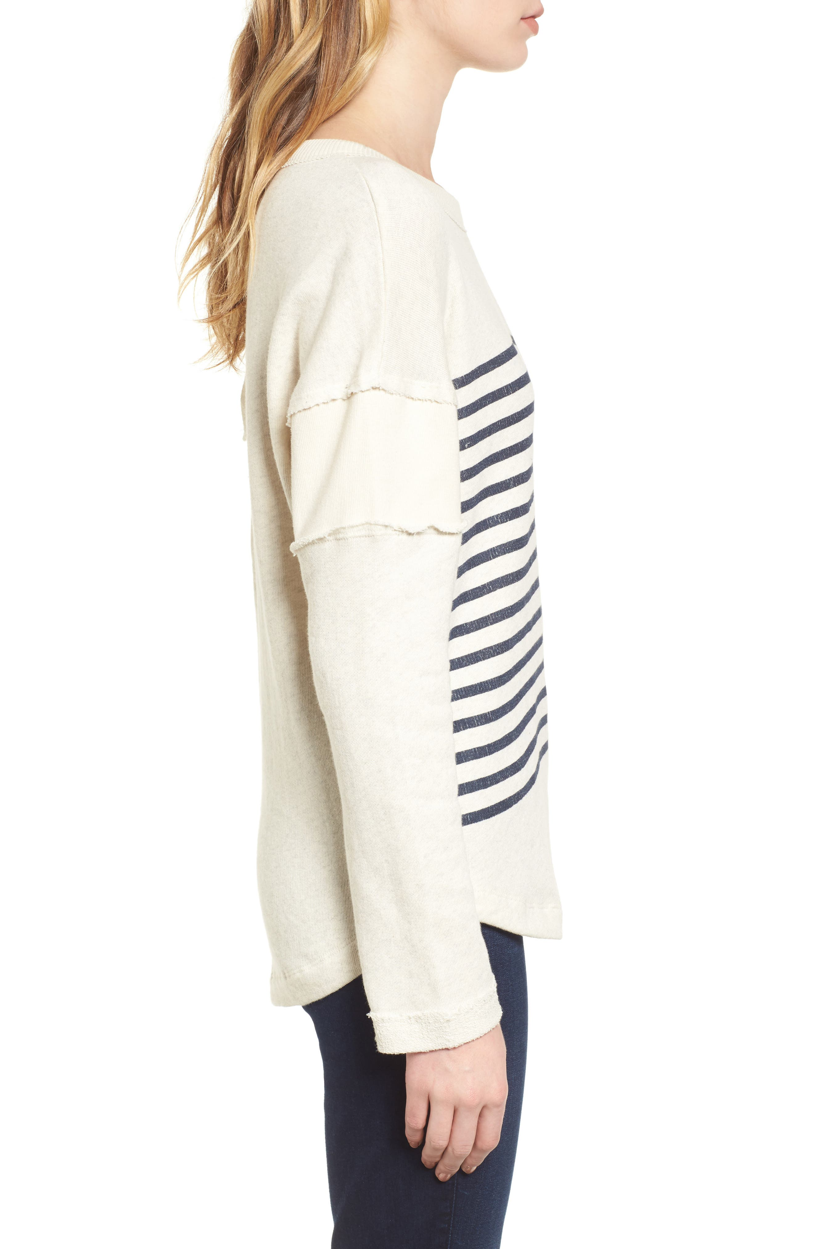 Seabrook Stripe Sweatshirt,                             Alternate thumbnail 3, color,                             Natural