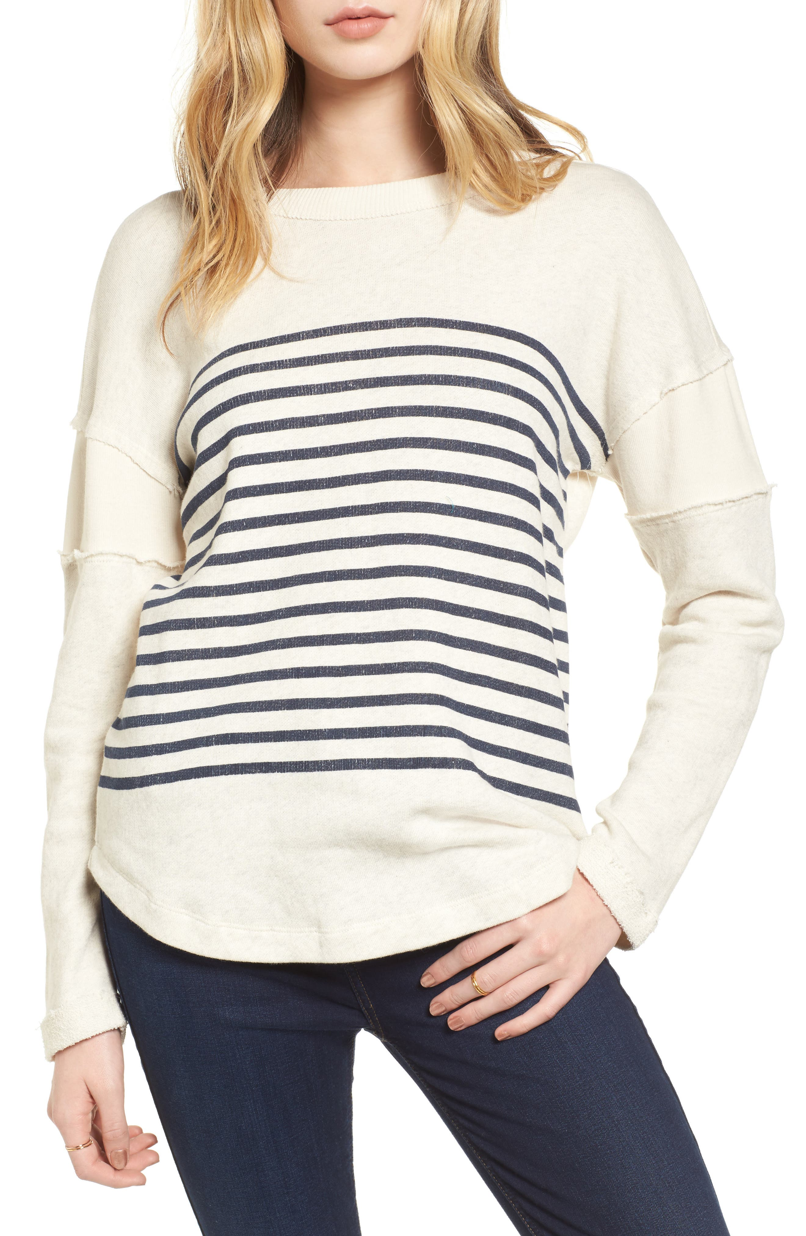 Seabrook Stripe Sweatshirt,                             Main thumbnail 1, color,                             Natural
