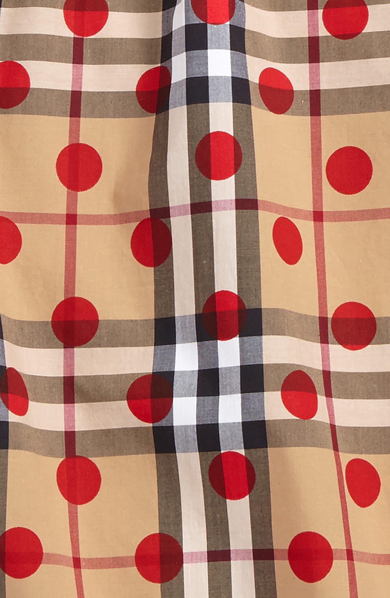 Mini Haleena Polka Dot & Check Print Top,                             Alternate thumbnail 3, color,                             Parade Red