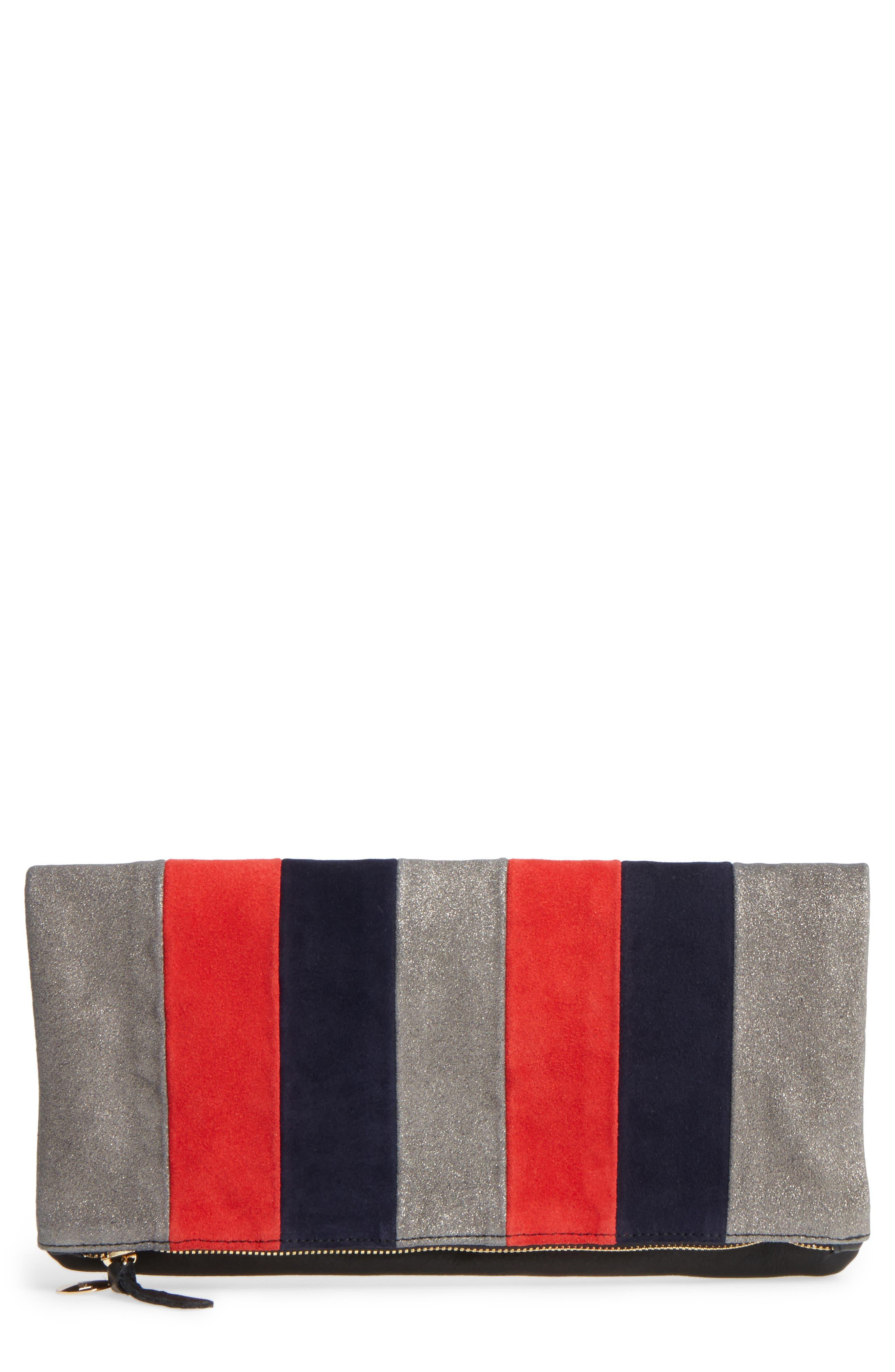 Clare V. Mixed Media Stripe Leather Foldover Clutch