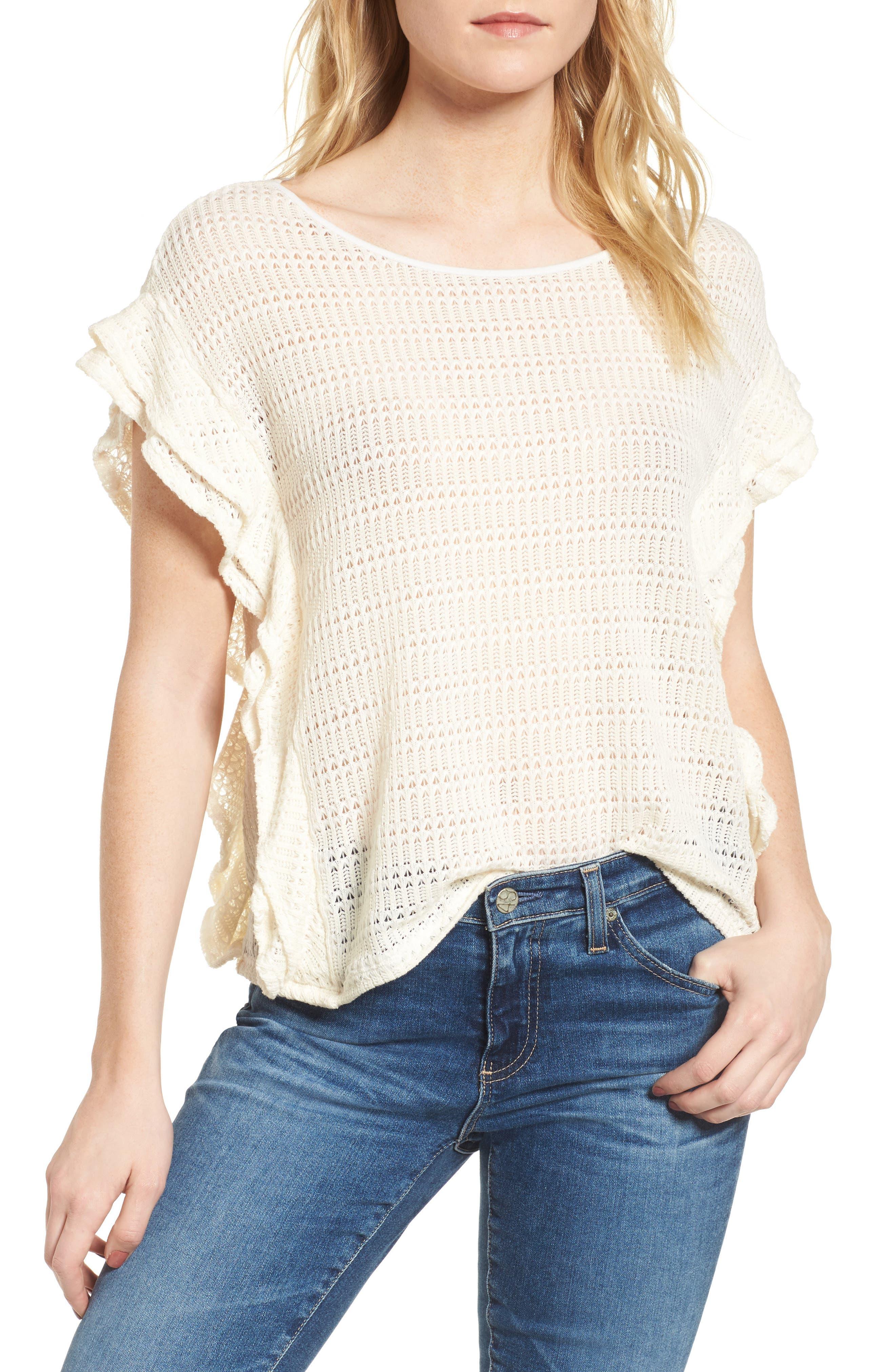 Alternate Image 1 Selected - Ella Moss Crochet Pullover Top