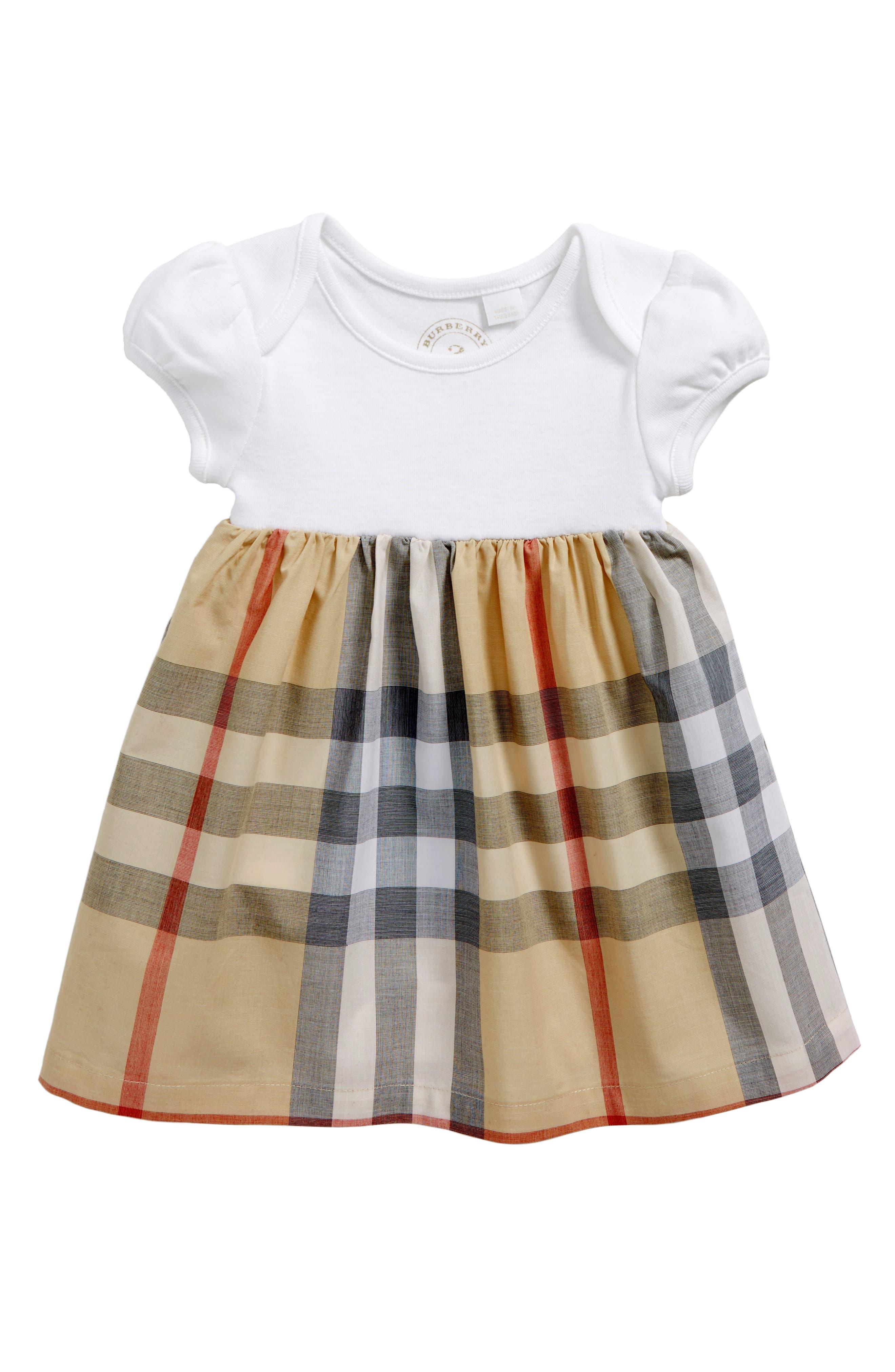 Main Image - Burberry Cherrylina Check Dress (Baby Girls)