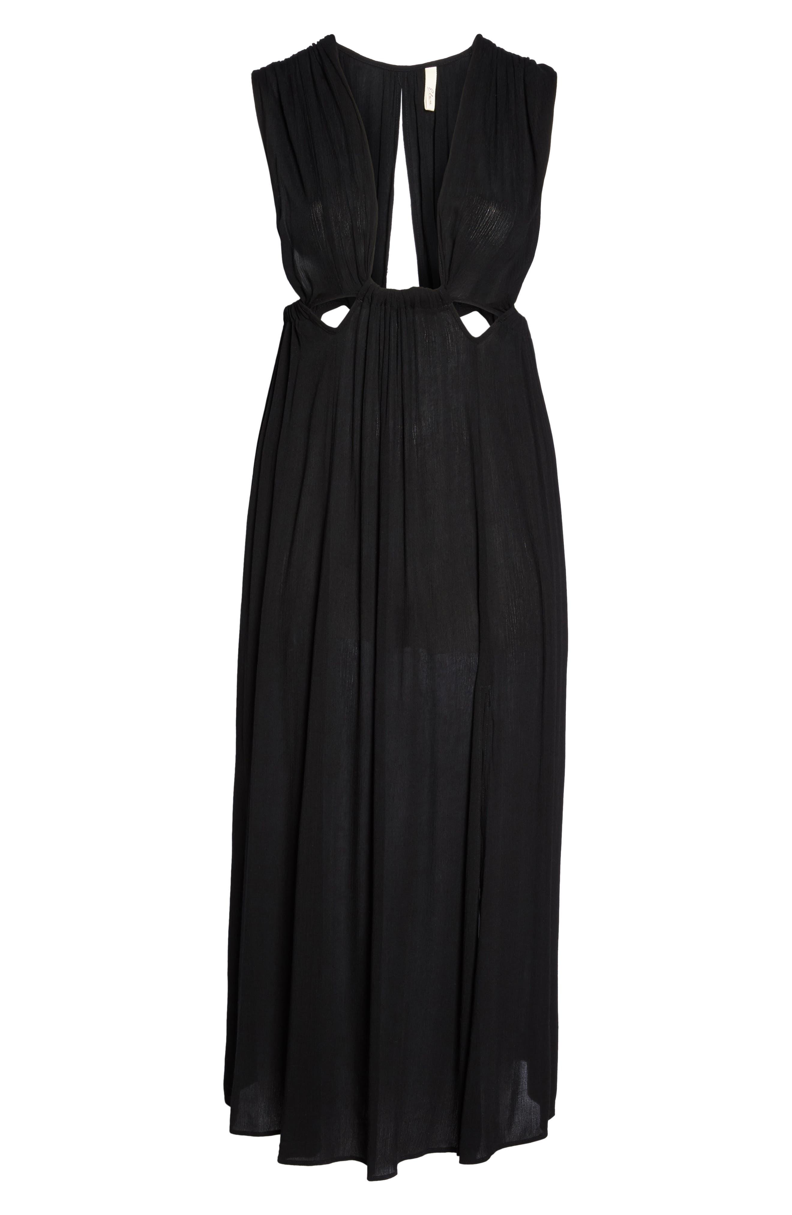 Cutout Cover-Up Maxi Dress,                             Alternate thumbnail 6, color,                             Black