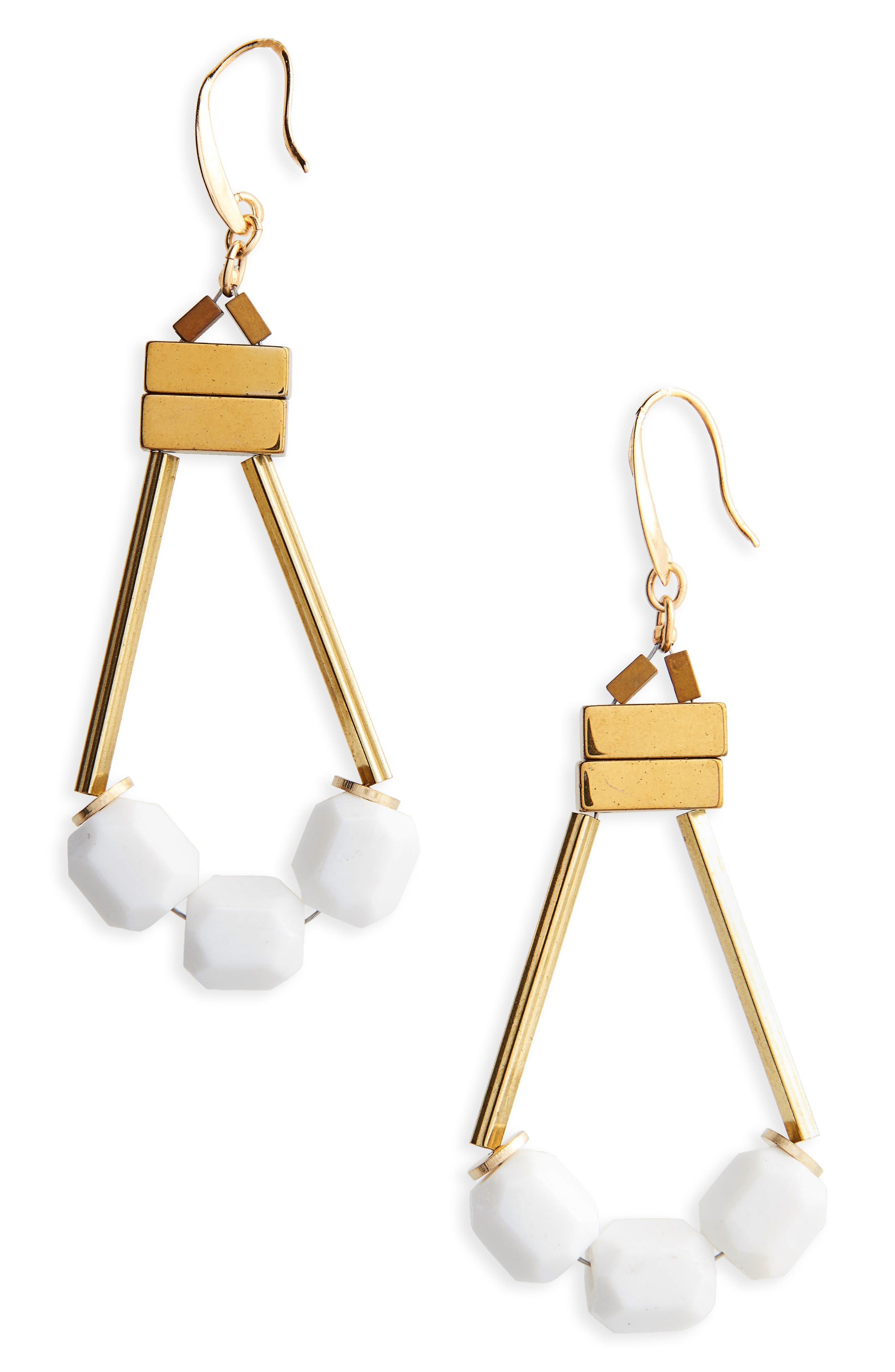 Rylee Beaded Drop Earrings,                             Main thumbnail 1, color,                             White/ Gold