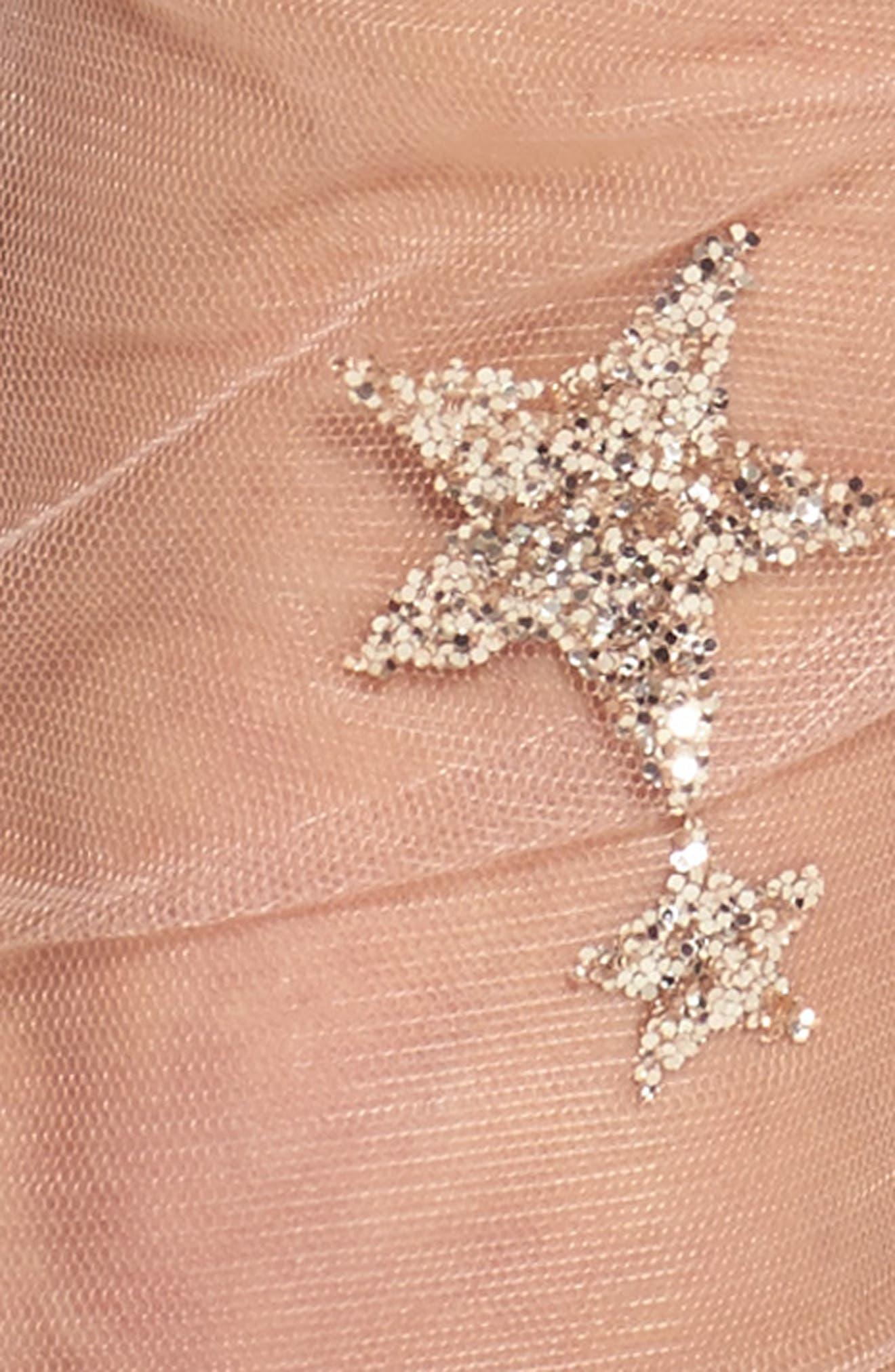 Glittery Star Tulle Socks,                             Alternate thumbnail 2, color,                             Pink