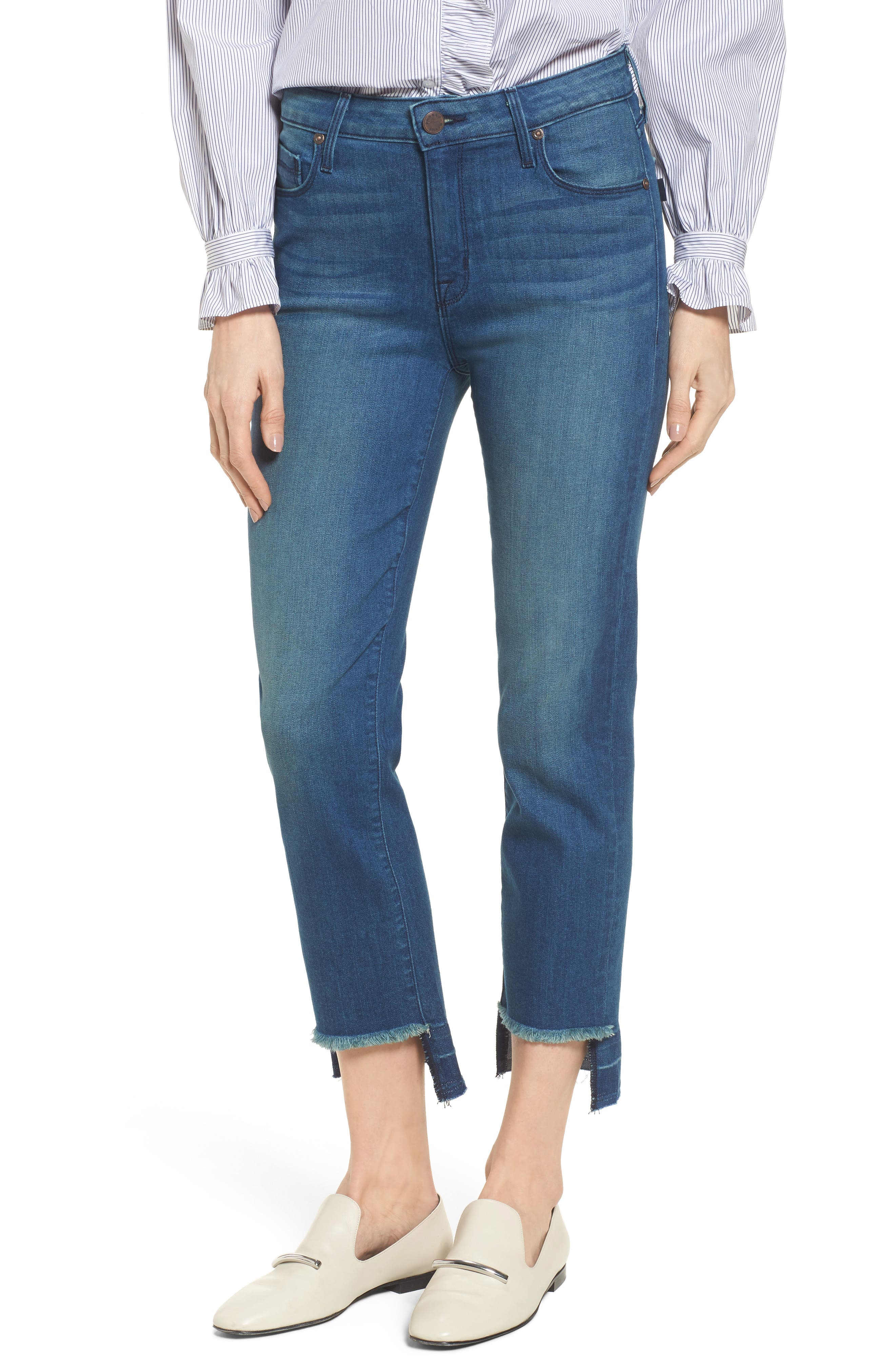 Alternate Image 1 Selected - PARKER SMITH Pin-Up Straight Leg Crop Jeans (Island)