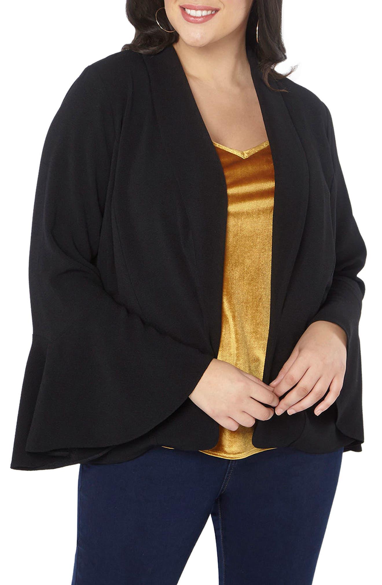 Alternate Image 1 Selected - Evans Bell Sleeve Crepe Jacket (Plus Size)