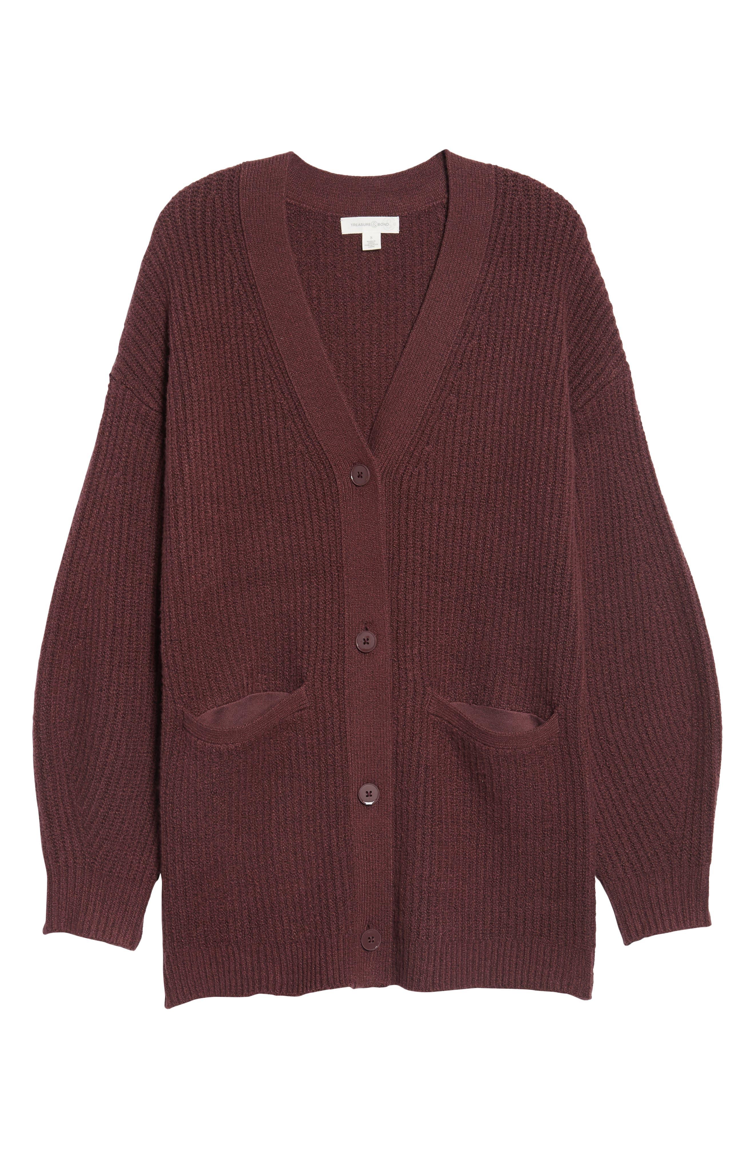 Ribbed Cardigan Sweater,                             Alternate thumbnail 6, color,                             Burgundy Fudge