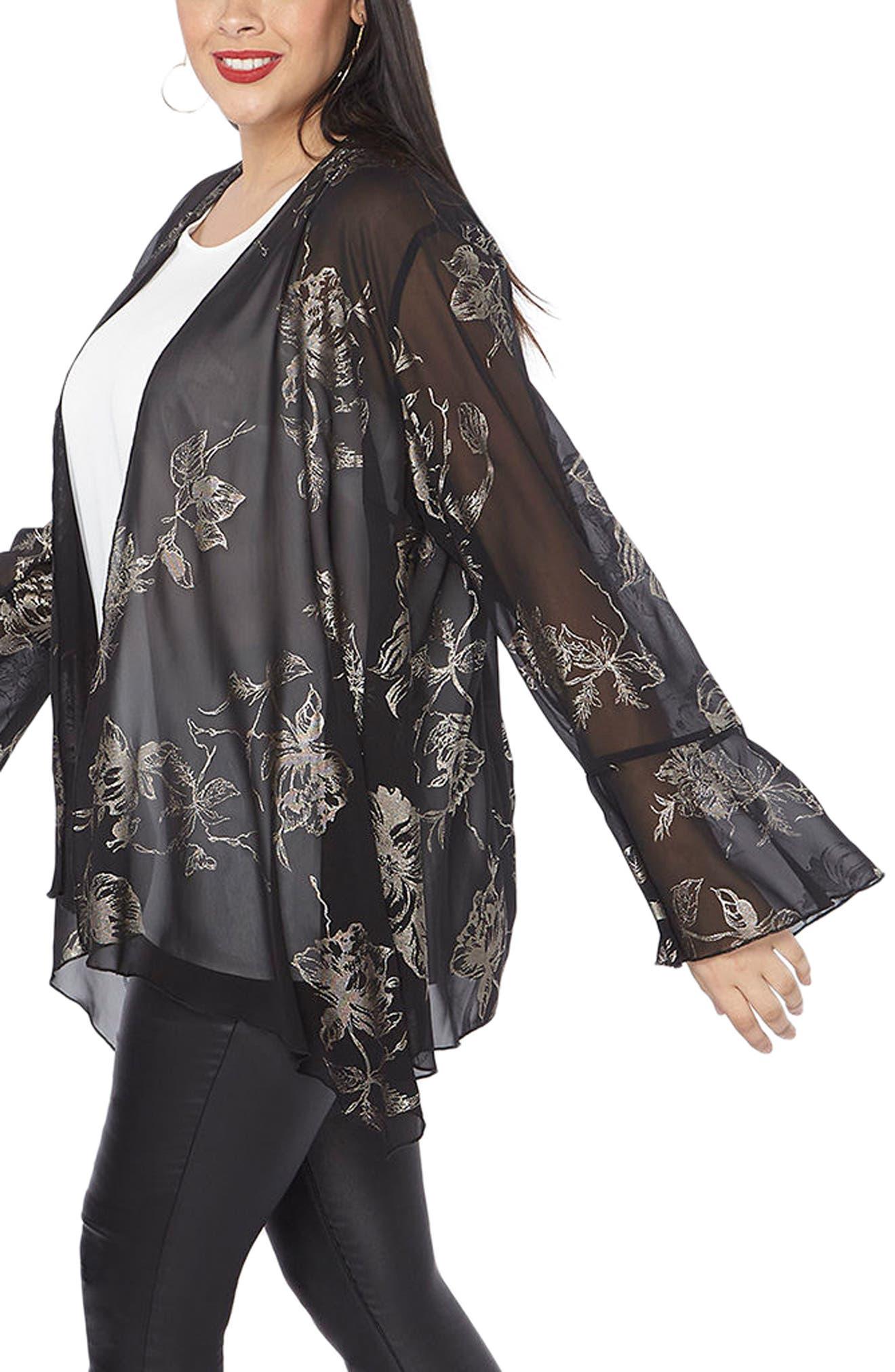 Gold Foil Bell Sleeve Kimono,                             Alternate thumbnail 3, color,                             Dark Multi