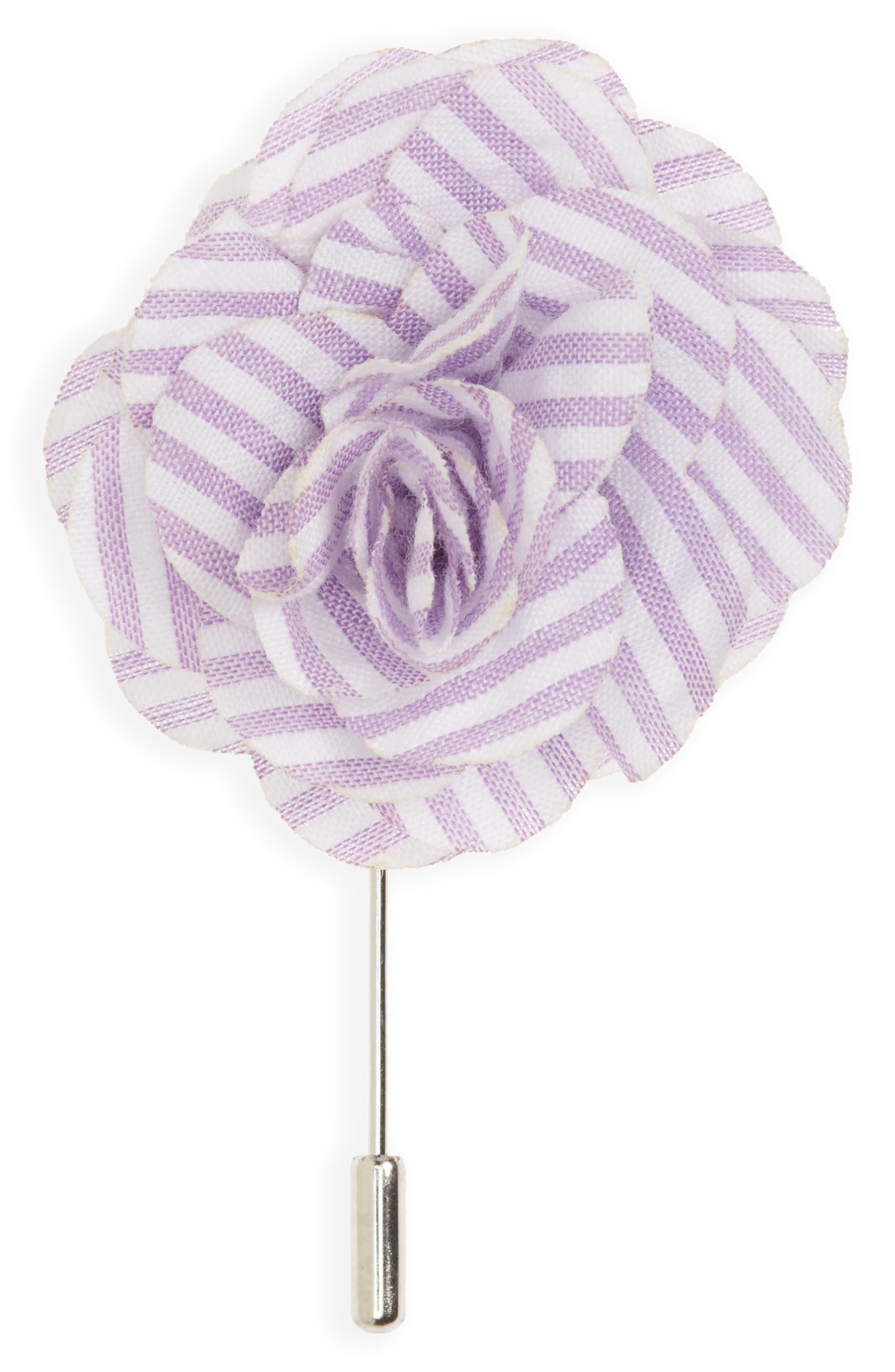 Seersucker Lapel Flower,                         Main,                         color, Lavender