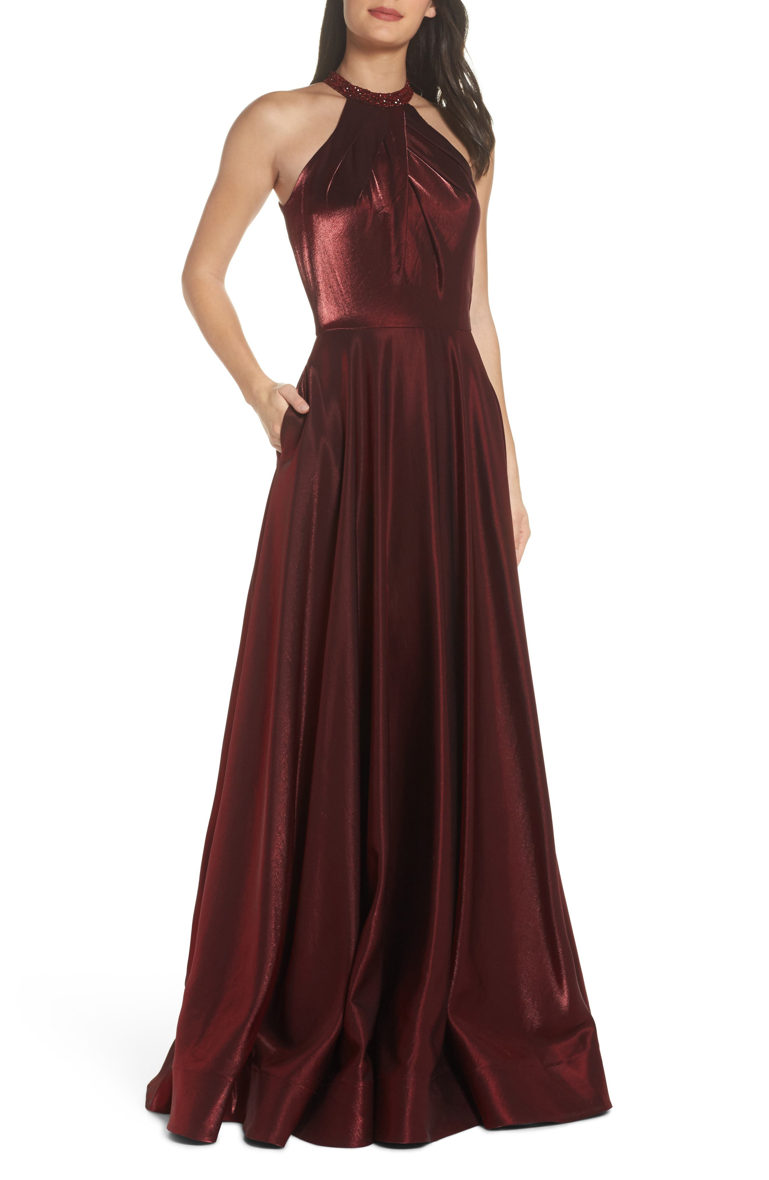 Beaded Halter Neck A-Line Gown,                             Main thumbnail 1, color,                             Burgundy