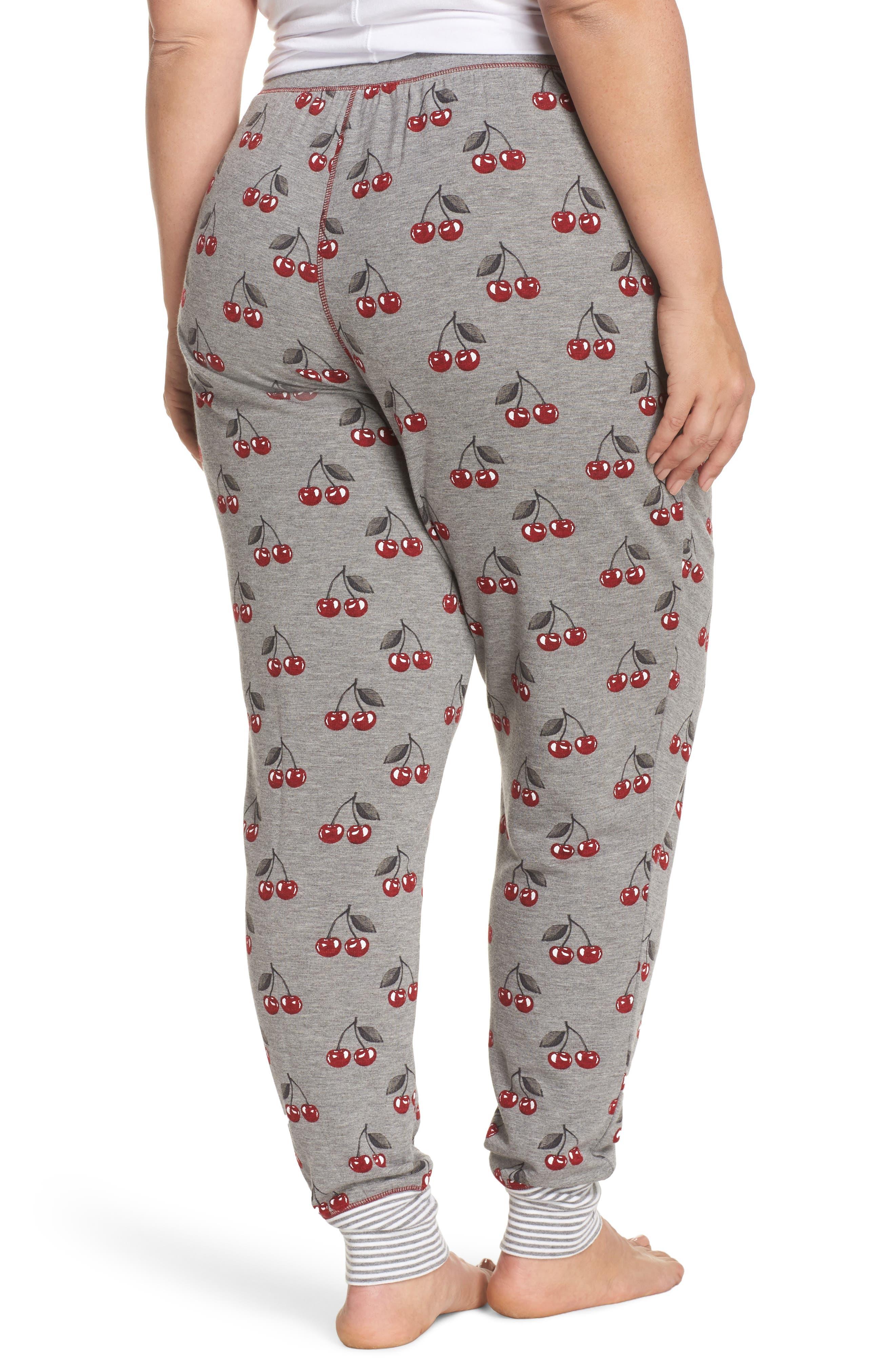 Cherry Pajama Pants,                             Alternate thumbnail 2, color,                             Heather Grey