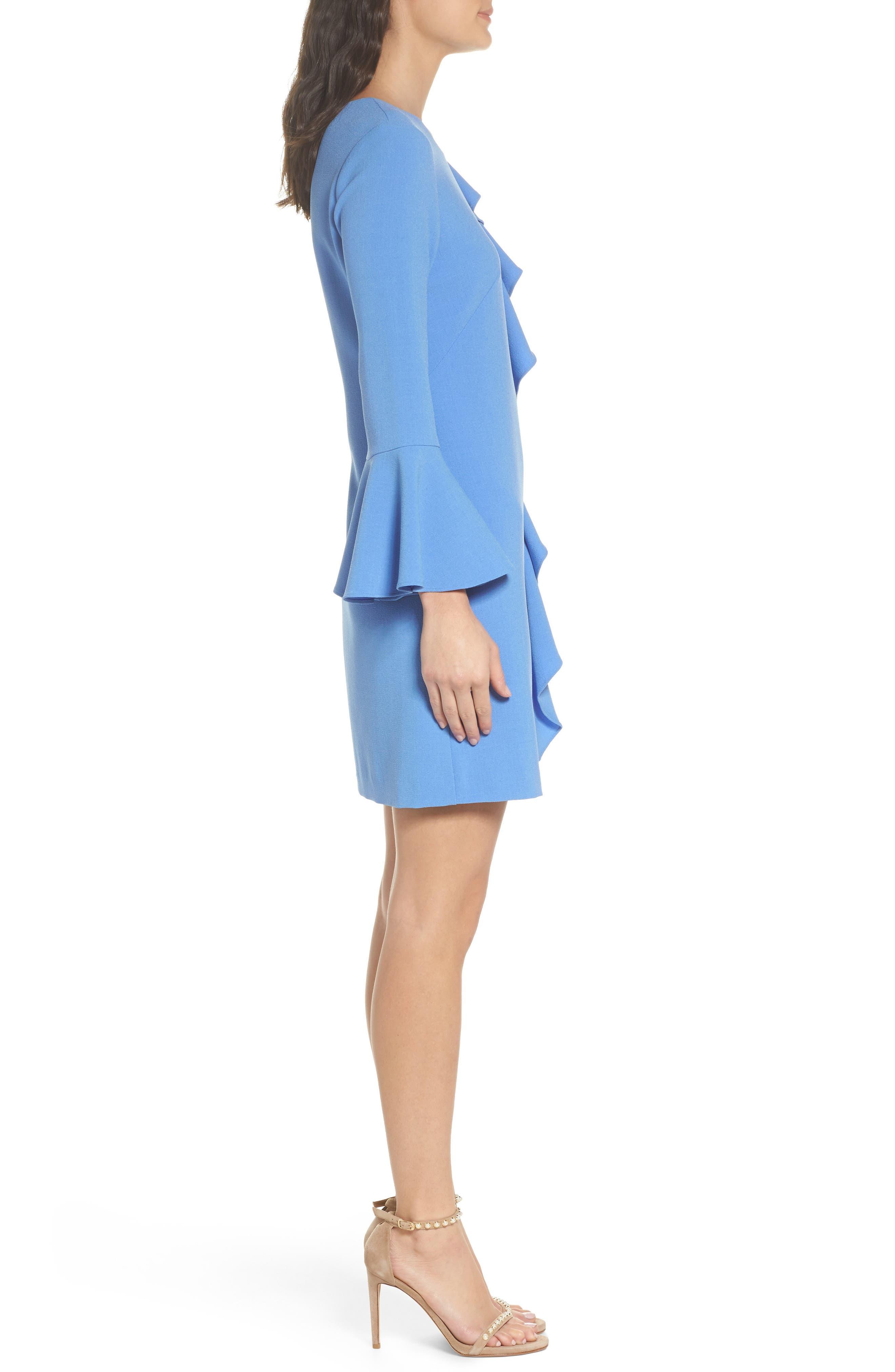 Ruffle Shift Dress,                             Alternate thumbnail 3, color,                             Blue Azurite