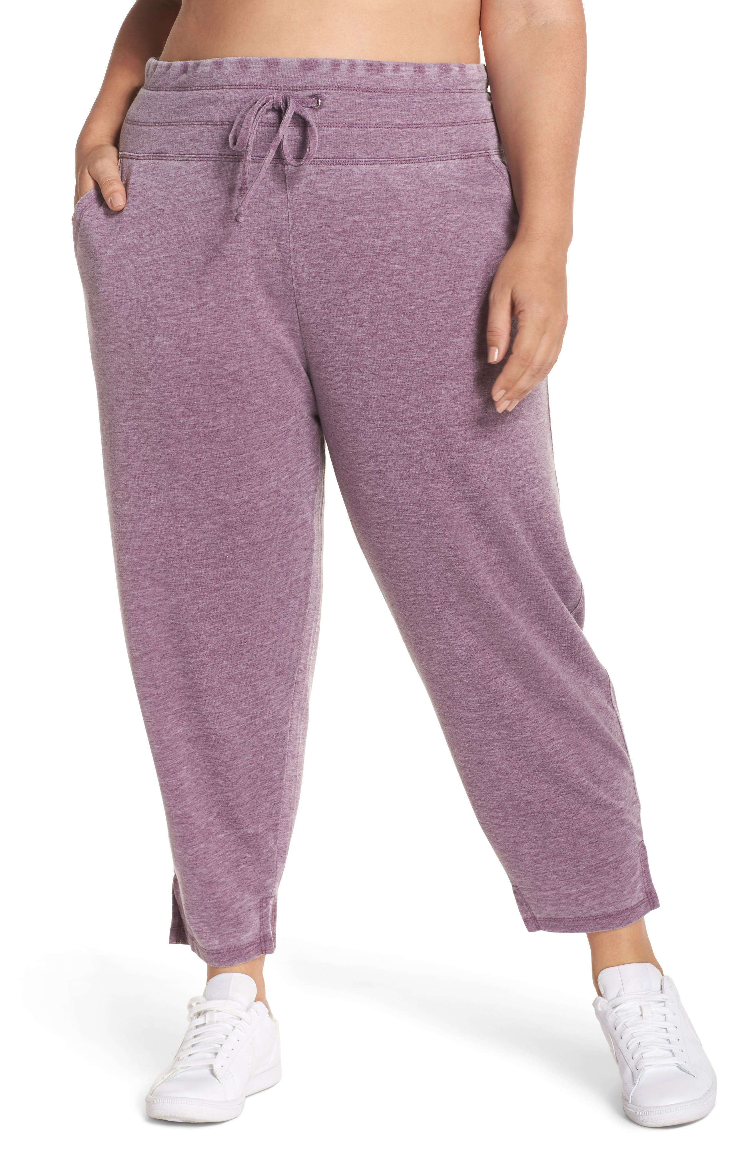 Kayle Crop Sweatpants,                             Main thumbnail 1, color,                             Aubergine Glow
