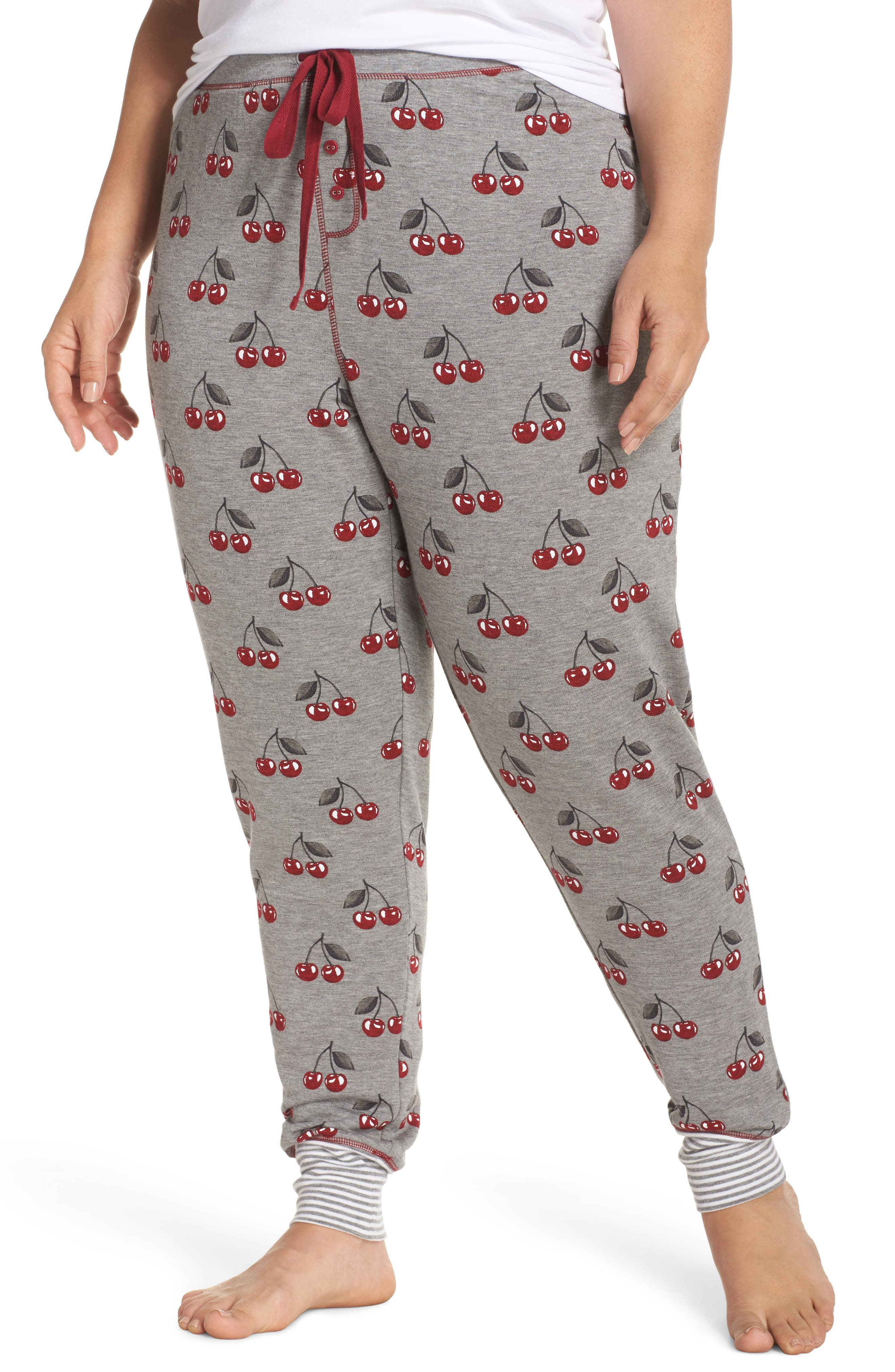 Cherry Pajama Pants,                         Main,                         color, Heather Grey