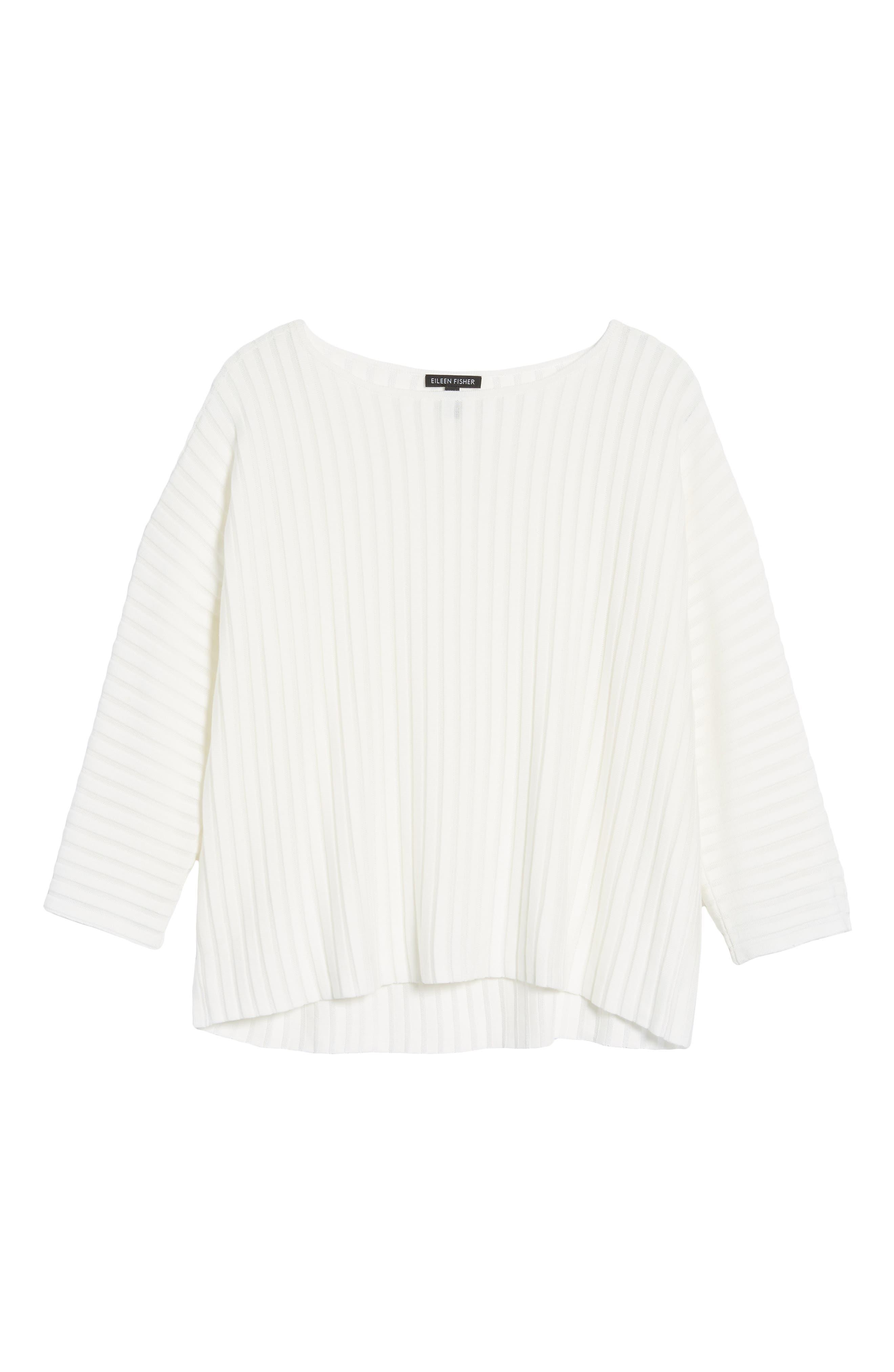 Ribbed Bateau Neck Sweater,                             Alternate thumbnail 6, color,                             Soft White