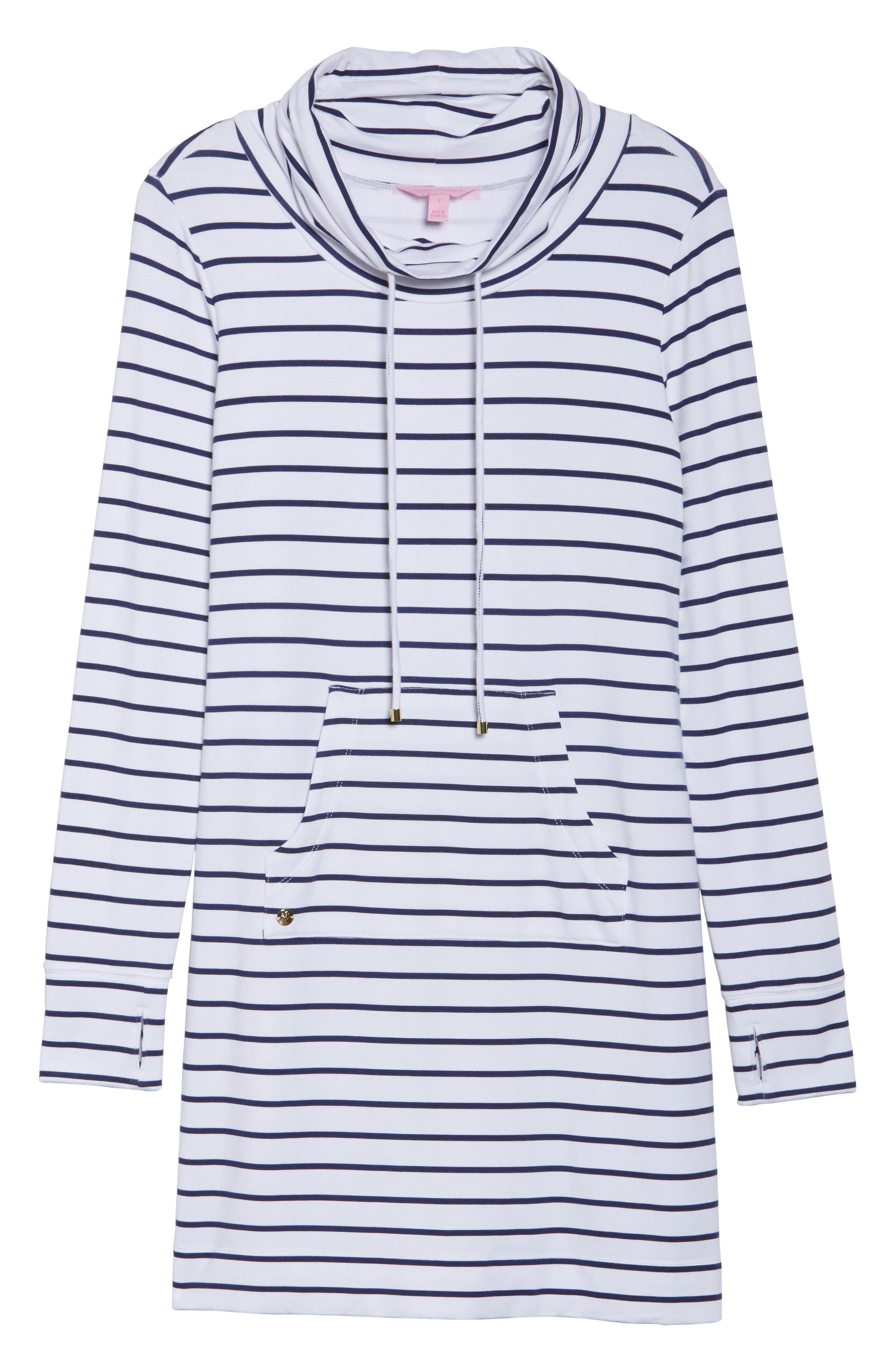 Hilary UPF 50+ Dress,                             Alternate thumbnail 6, color,                             Bright Navy Mystic Stripe