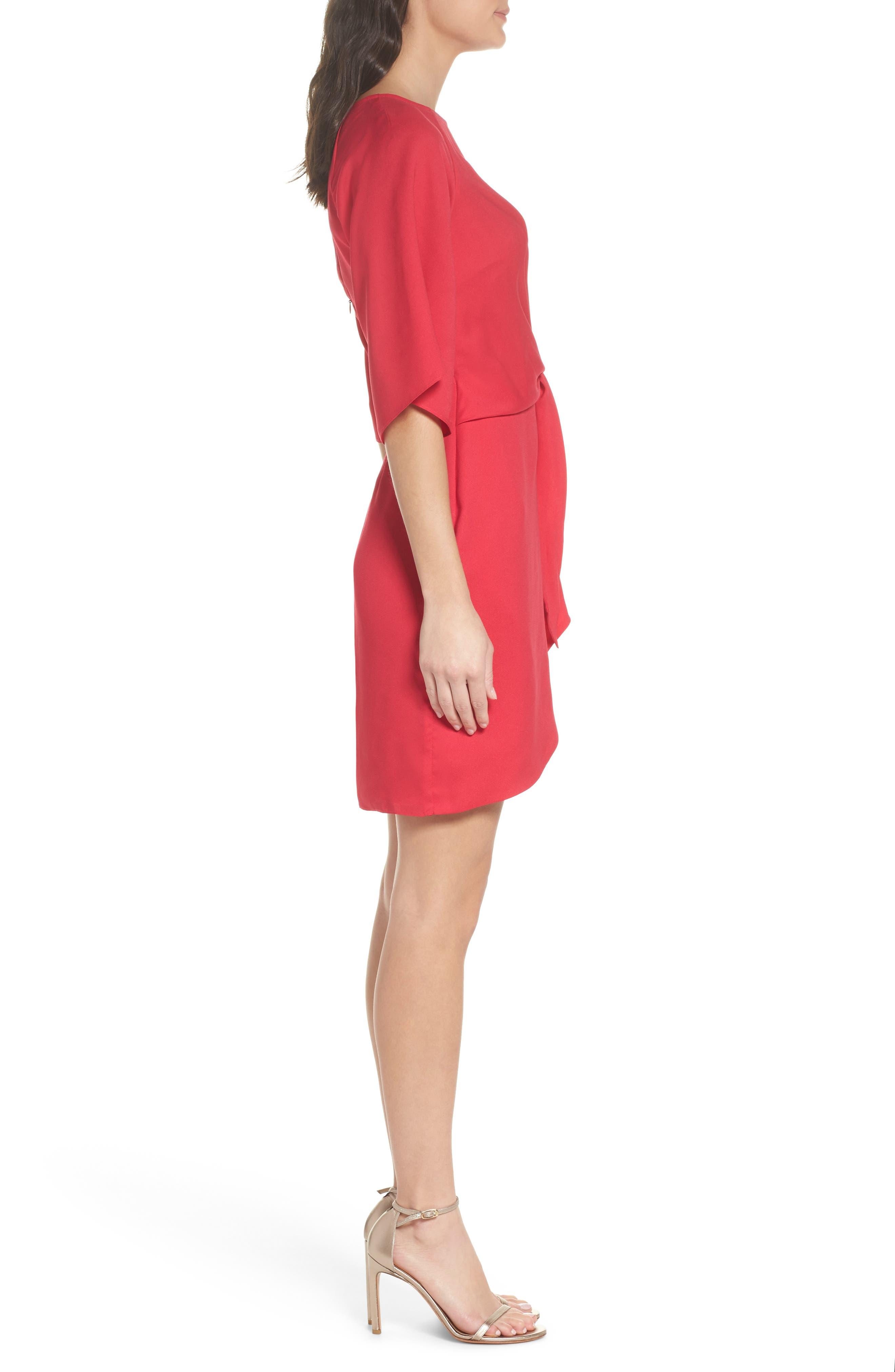 Abbey Faux Wrap Dress,                             Alternate thumbnail 3, color,                             Fuchsia
