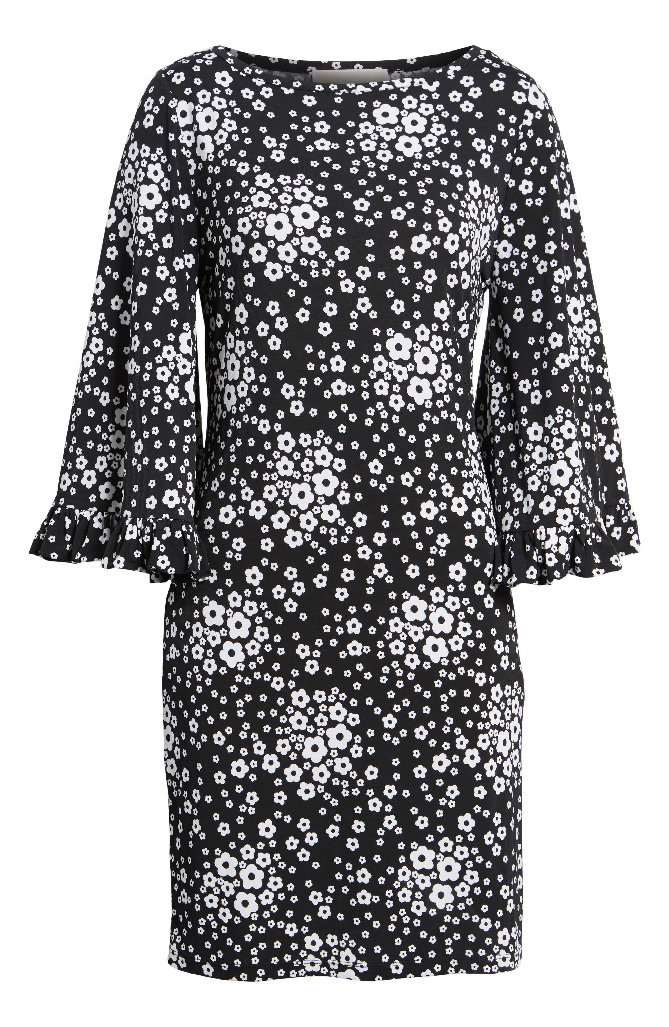 Floral Mod Shift Dress,                             Alternate thumbnail 6, color,                             Black/ White