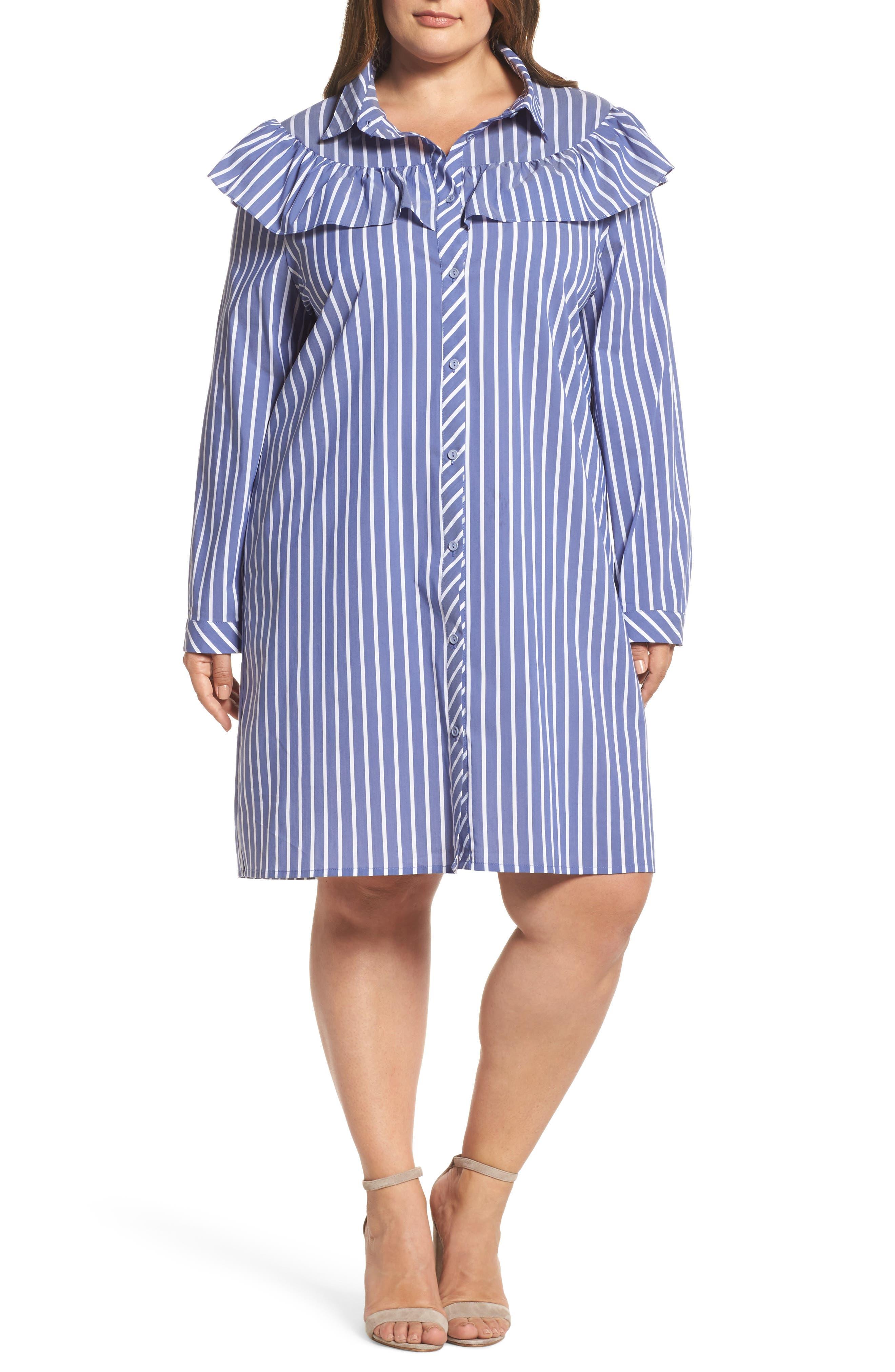 Ruffle Stripe Shirtdress,                             Main thumbnail 1, color,                             Blue White Stripe