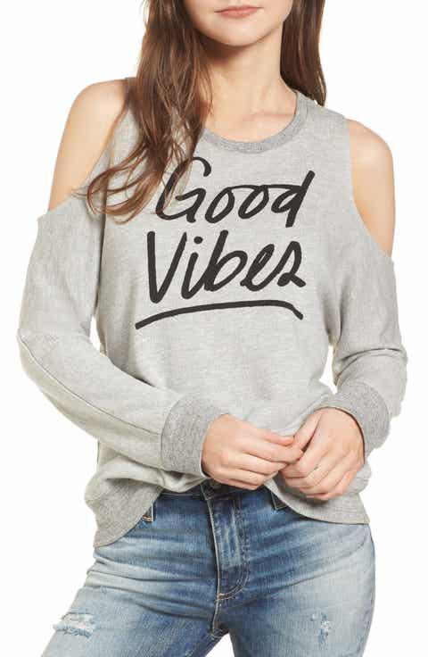 Sundry Good Vibes Cold Shoulder Sweatshirt