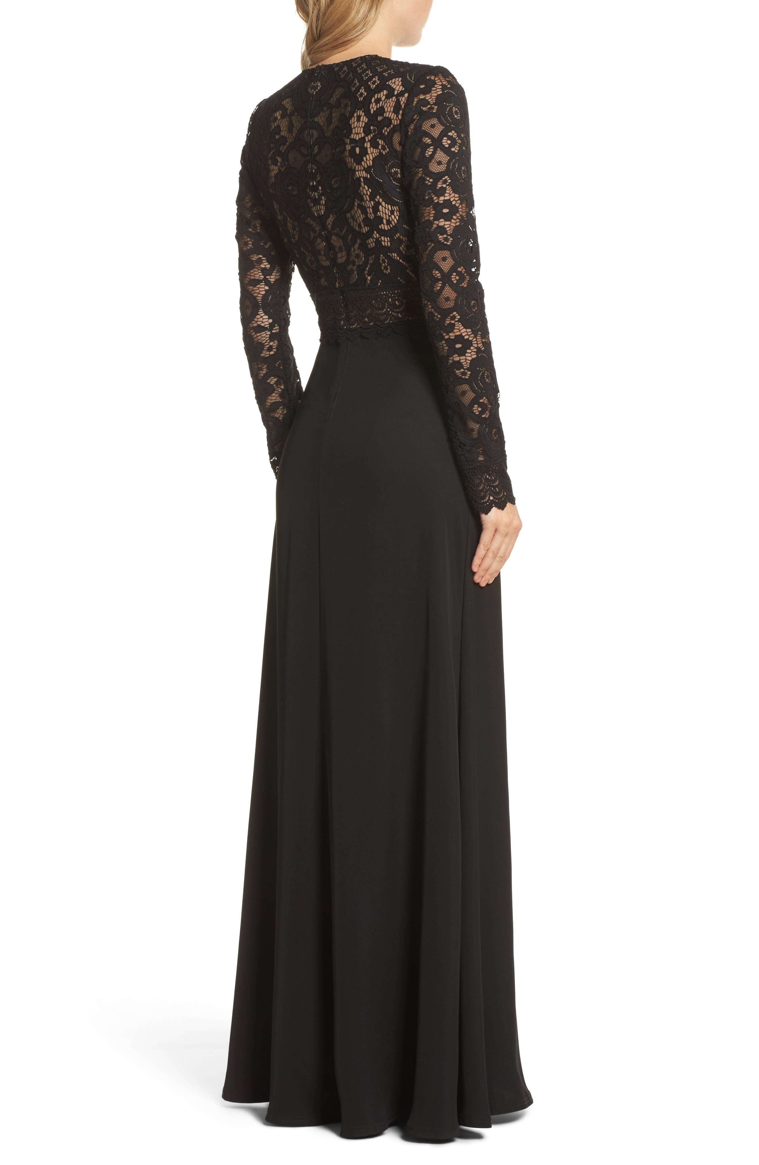 Lace & Crepe Gown,                             Alternate thumbnail 2, color,                             Black/ Nude