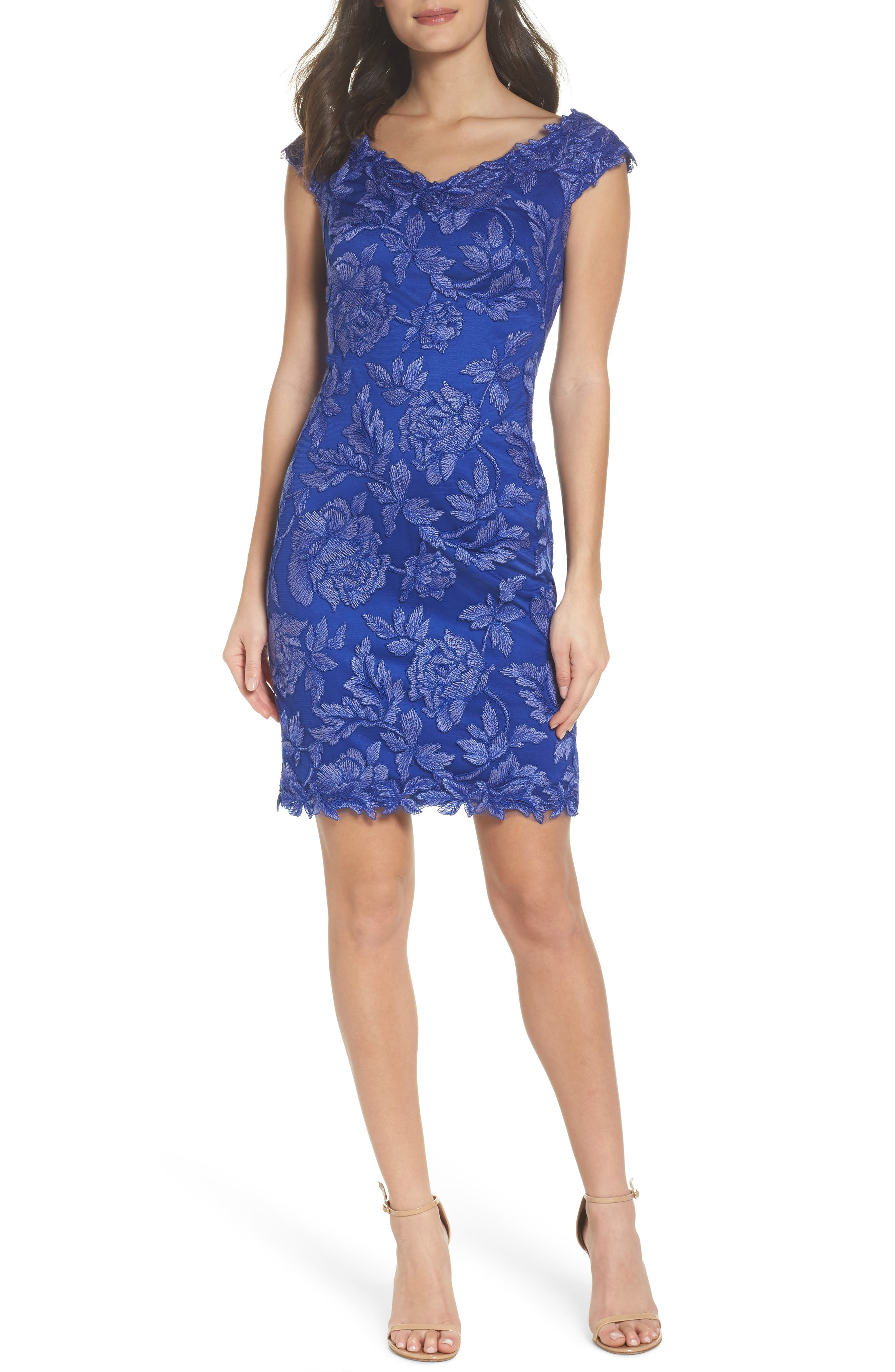 Embroidered Mesh Sheath Dress,                         Main,                         color, Blue Lily