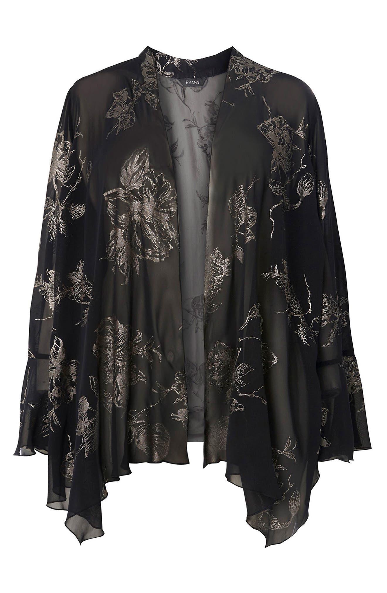 Gold Foil Bell Sleeve Kimono,                             Alternate thumbnail 5, color,                             Dark Multi