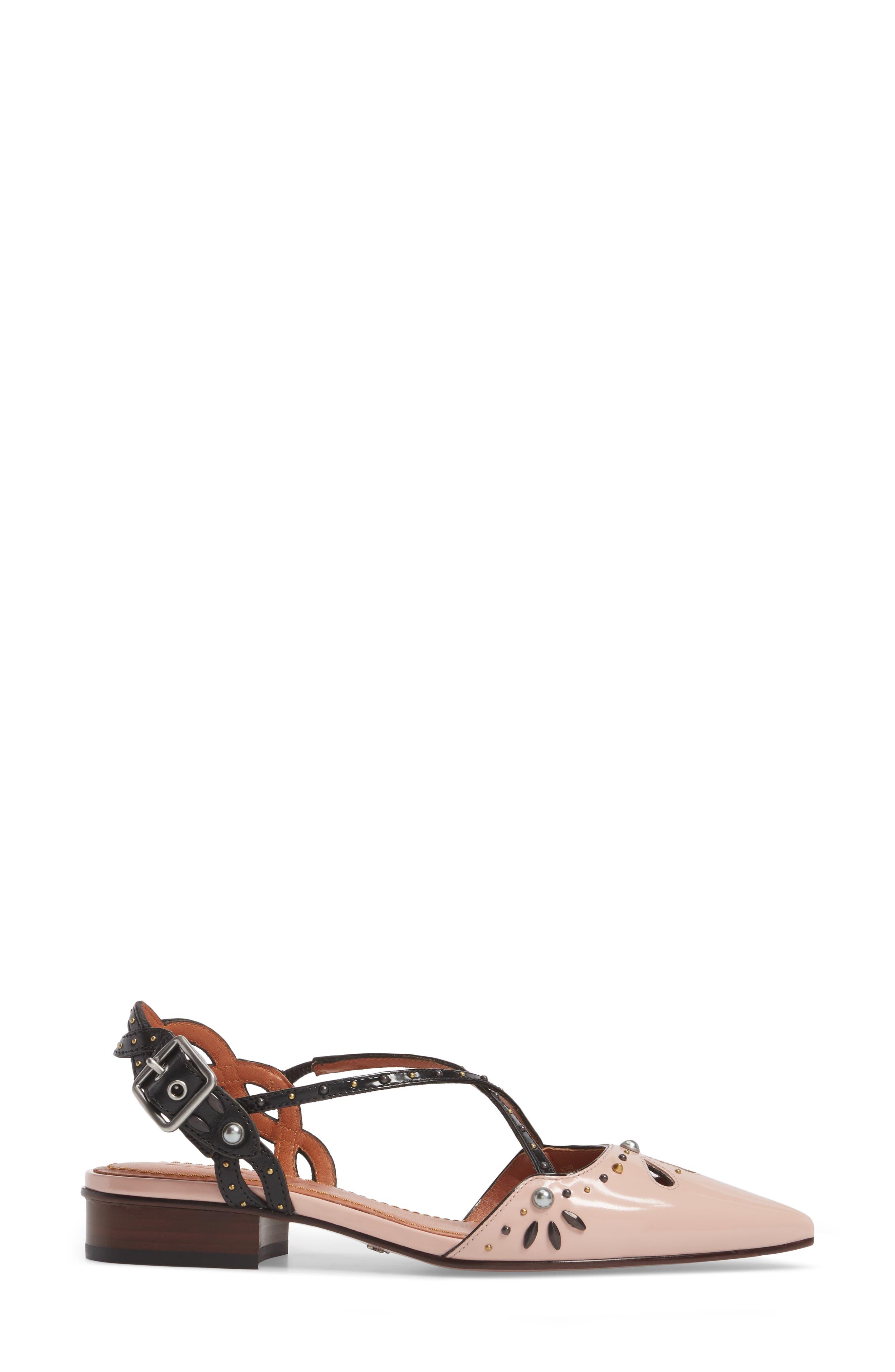 Prairie Rivet Sandal,                             Alternate thumbnail 3, color,                             Pink/ Black Leather