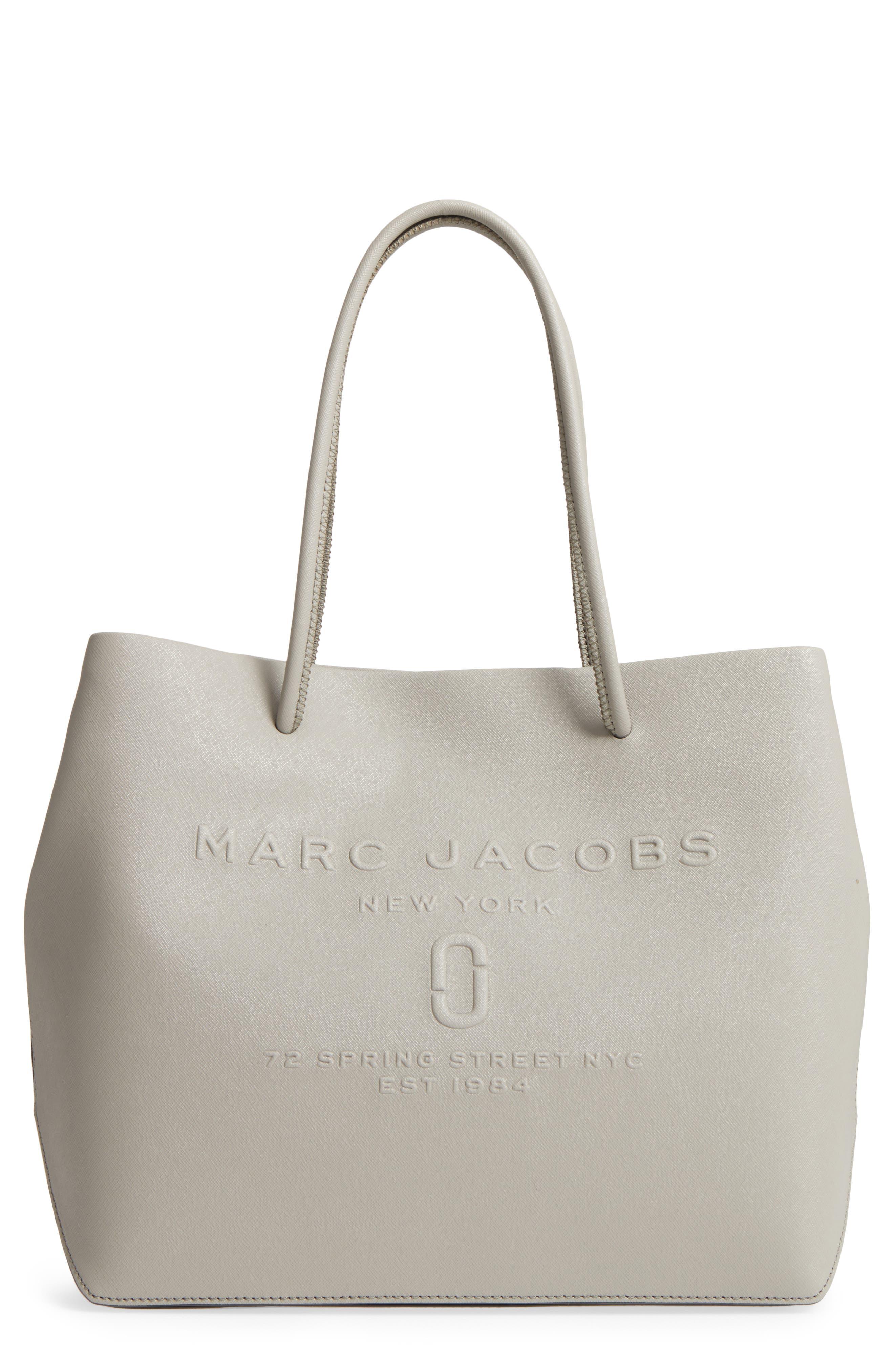 Logo Leather Shopper,                         Main,                         color, Stone Grey