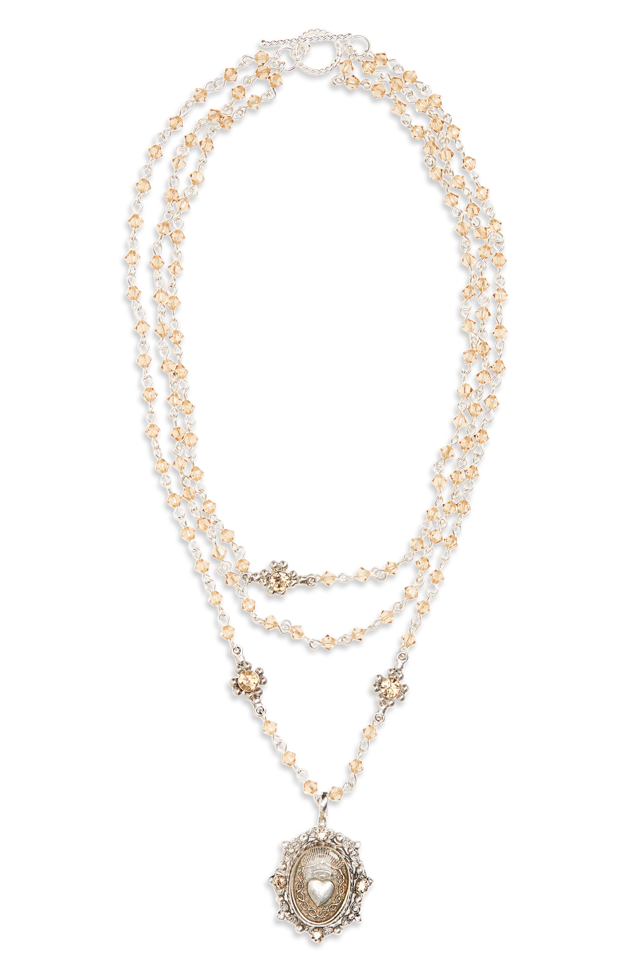 Main Image - Virgins Saints & Angels Bicone Sacred Heart Rosary Necklace (Special Purchase) (Nordstrom Exclusive)